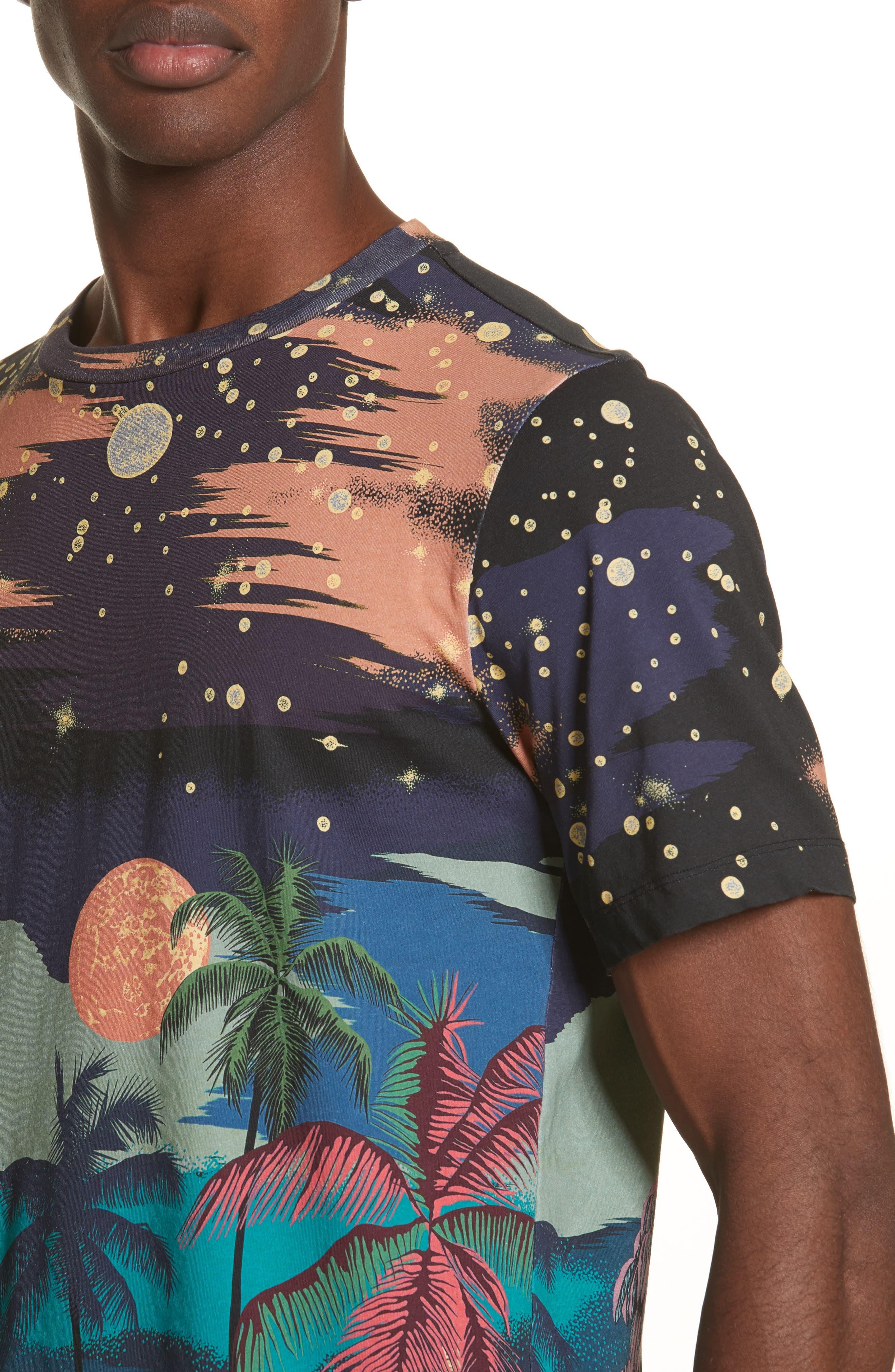 Palm Tree Print T-Shirt,                             Alternate thumbnail 4, color,                             400