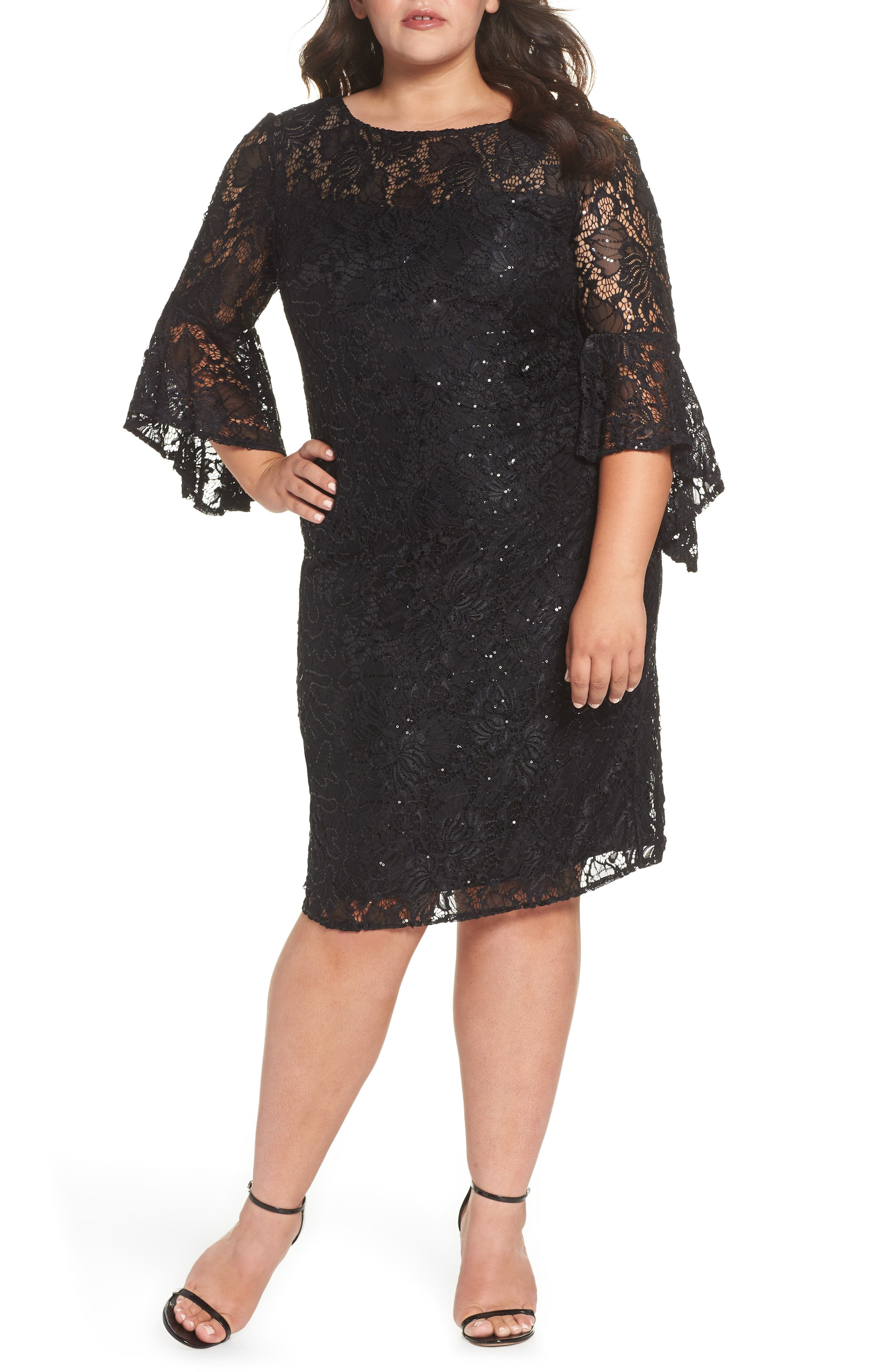 Bell Sleeve Lace Sheath Dress,                         Main,                         color, BLACK