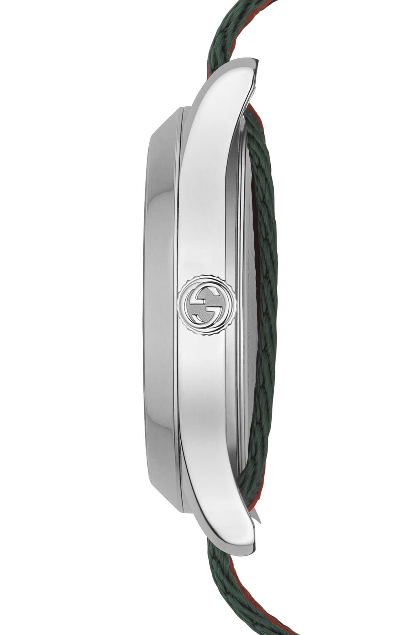 G-Timeless Nylon Strap Watch, 38mm,                             Alternate thumbnail 3, color,                             GREEN/ RED/ SILVER