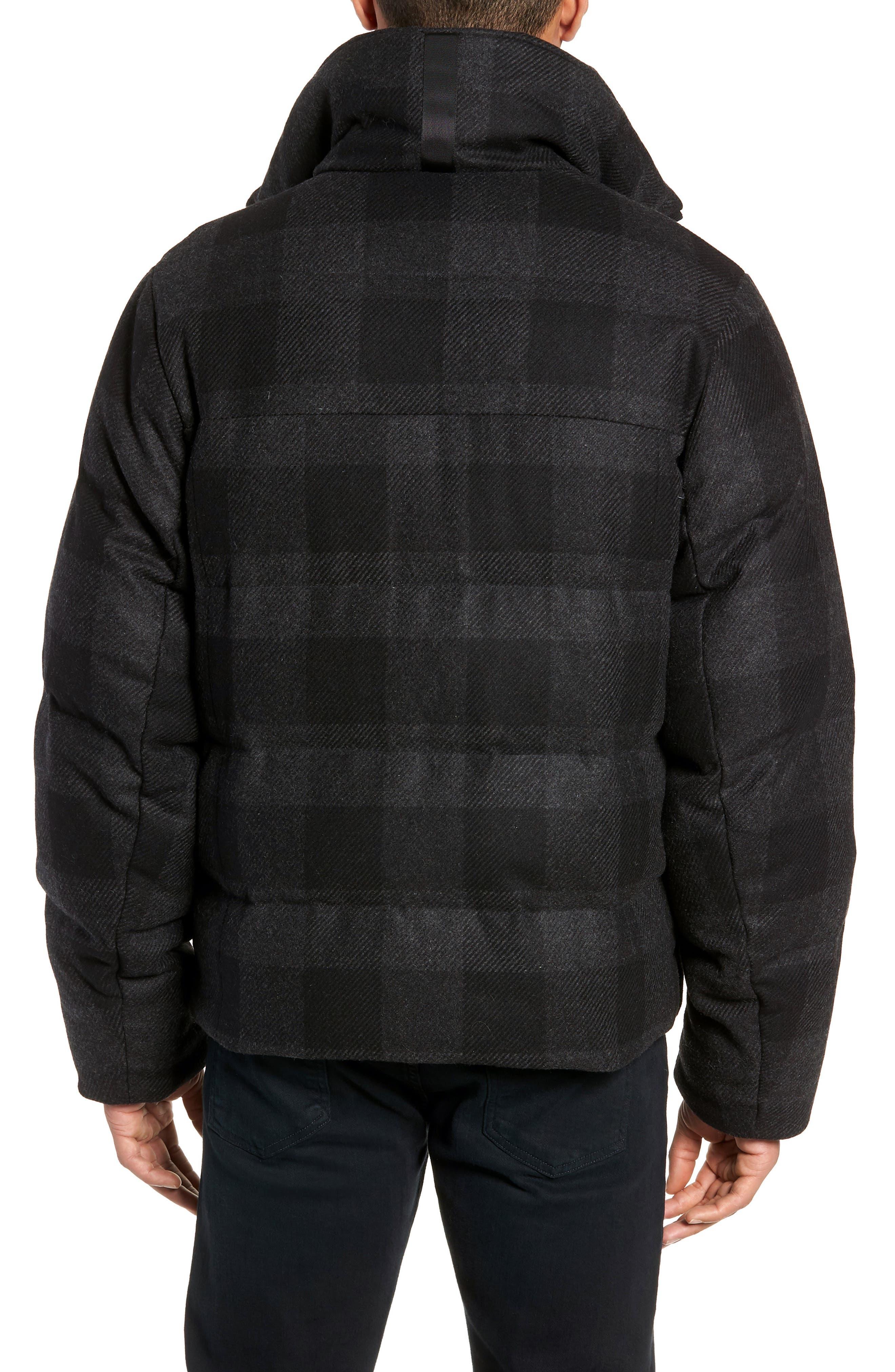 Crosby Plaid Wool Bib Puffer Jacket,                             Alternate thumbnail 2, color,                             CHARCOAL/ BLACK PLAID