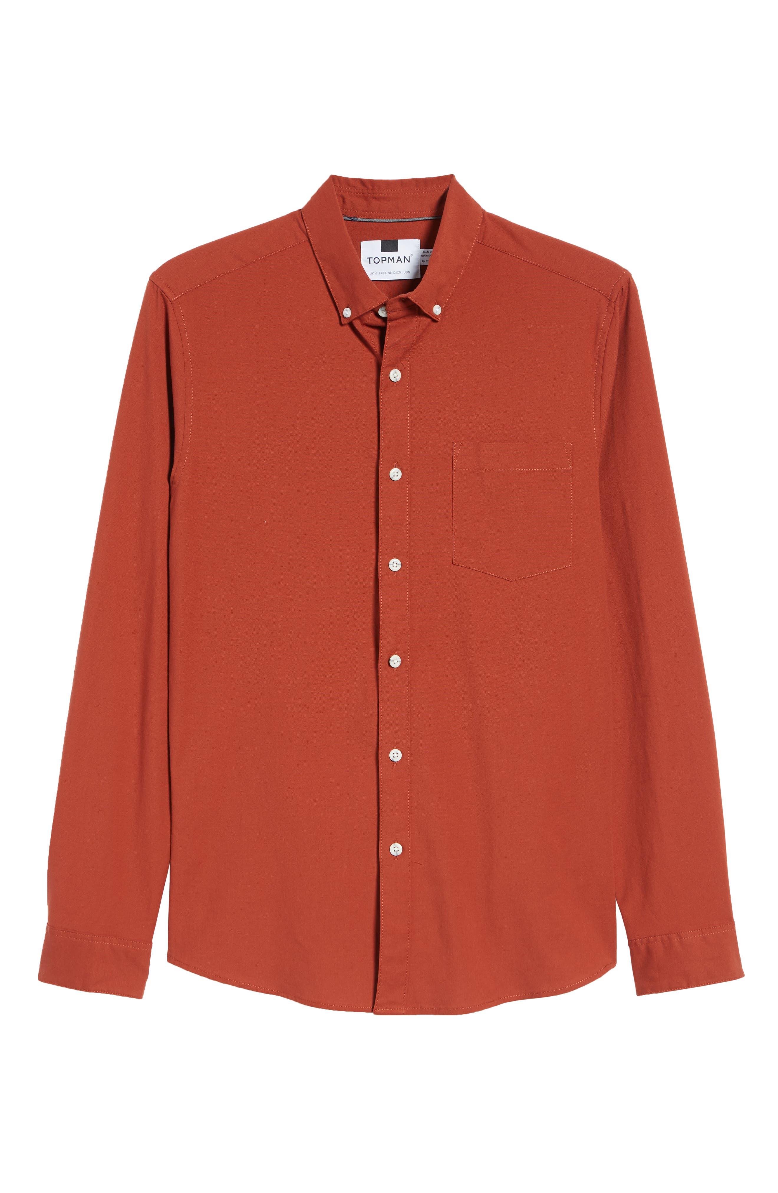 TOPMAN,                             Classic Fit Oxford Shirt,                             Alternate thumbnail 5, color,                             BROWN