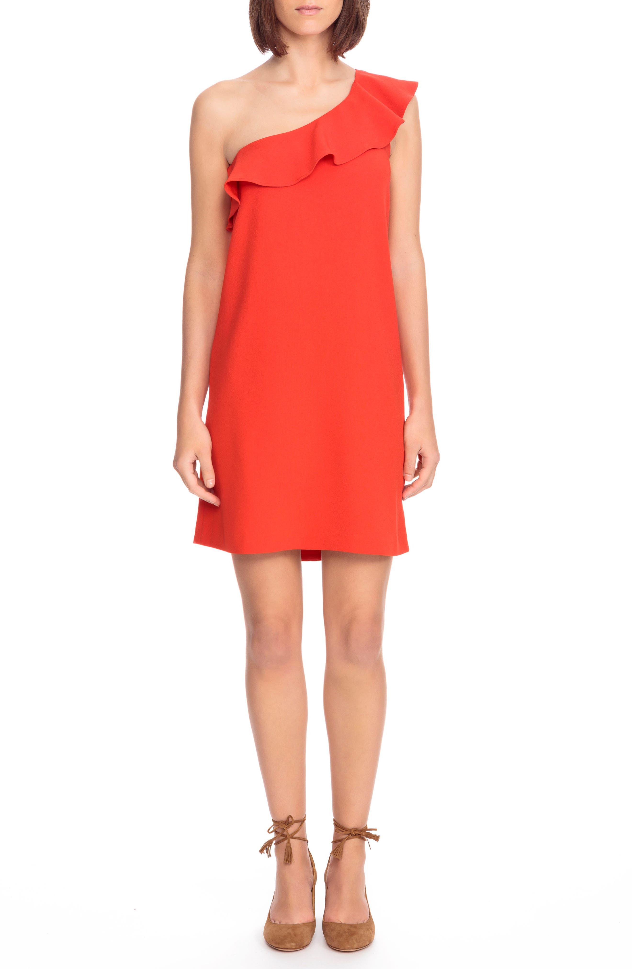 Louison Ruffle One-Shoulder Shift Dress,                         Main,                         color, 600