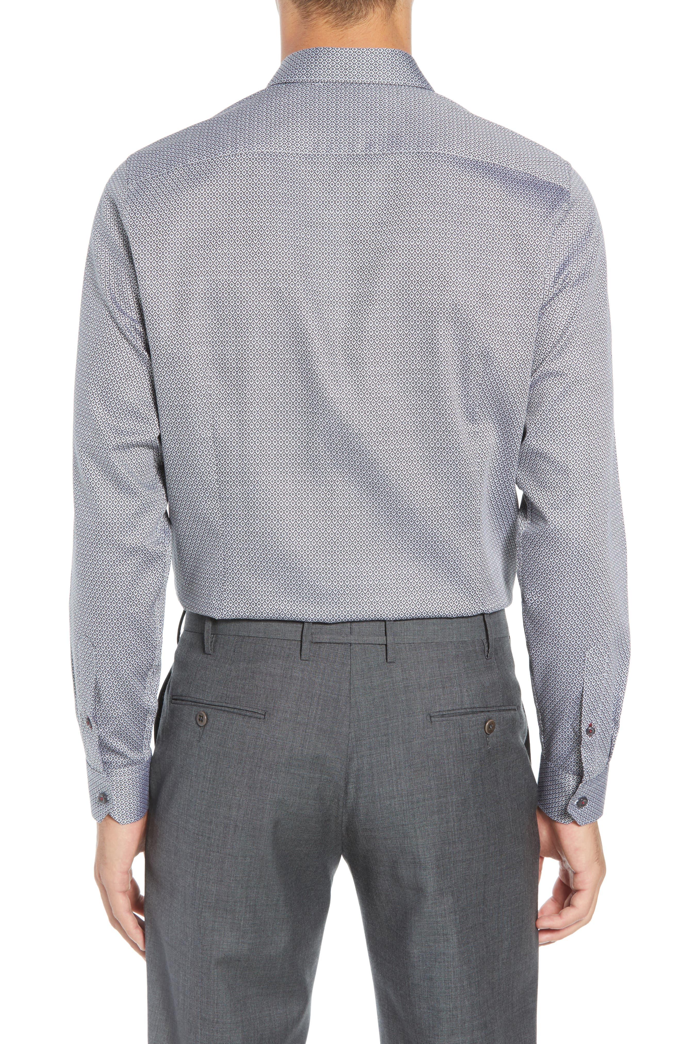 Brocco Modern Fit Geometric Dress Shirt,                             Alternate thumbnail 3, color,                             BLACK