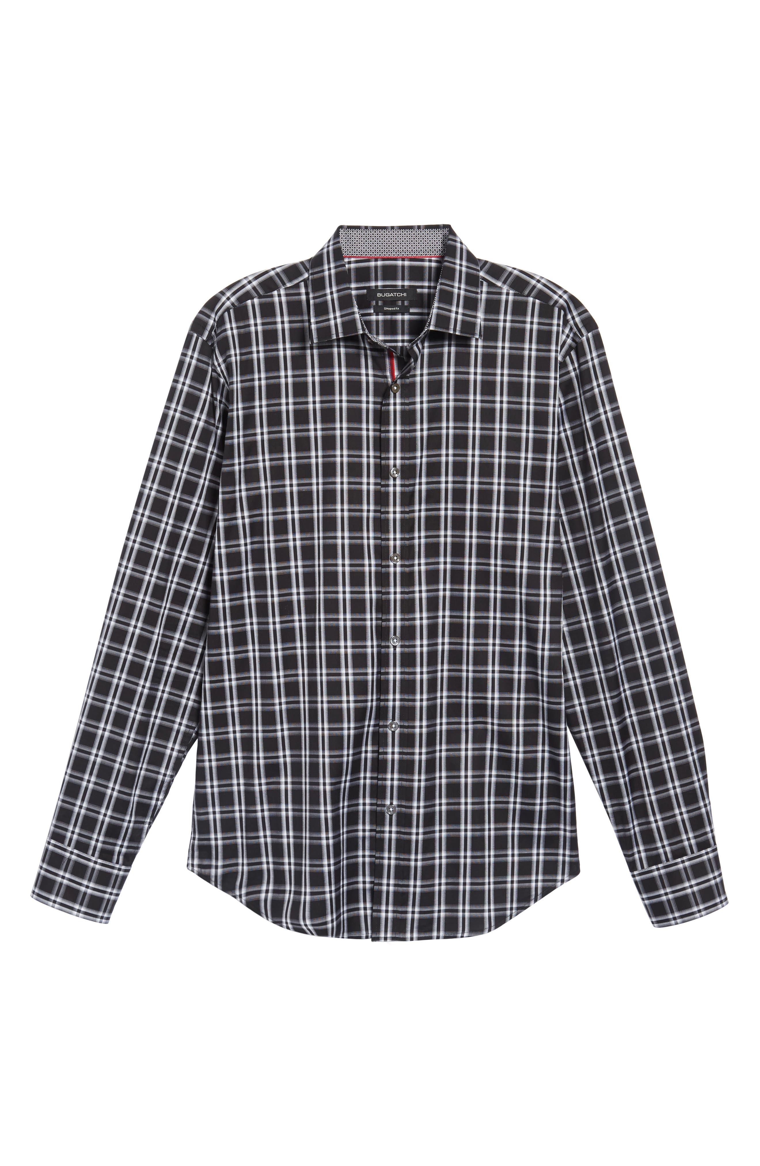 Slim Fit Check Sport Shirt,                             Alternate thumbnail 6, color,                             001