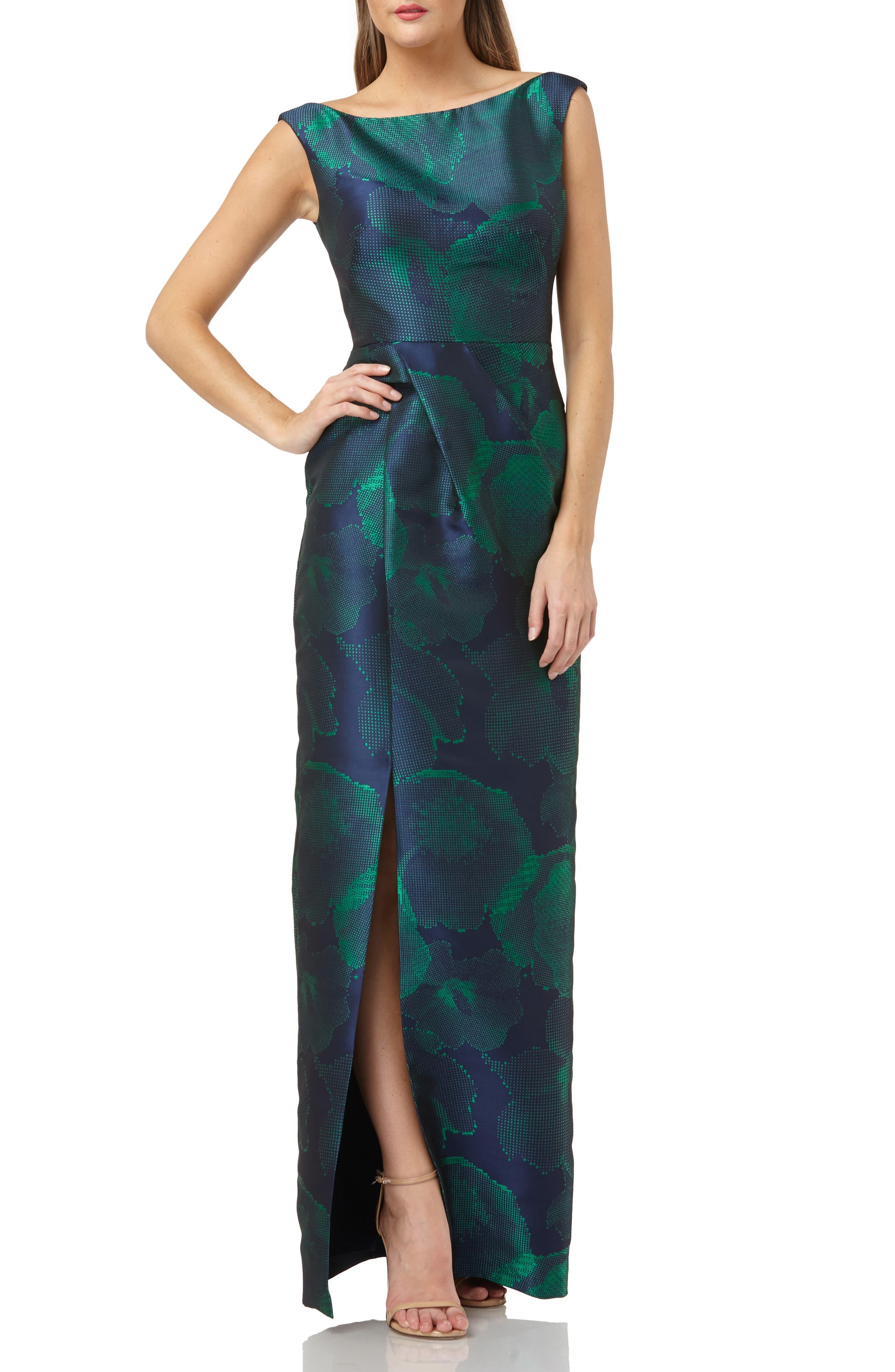 Kay Unger Bateau Jacquard Dress, Green
