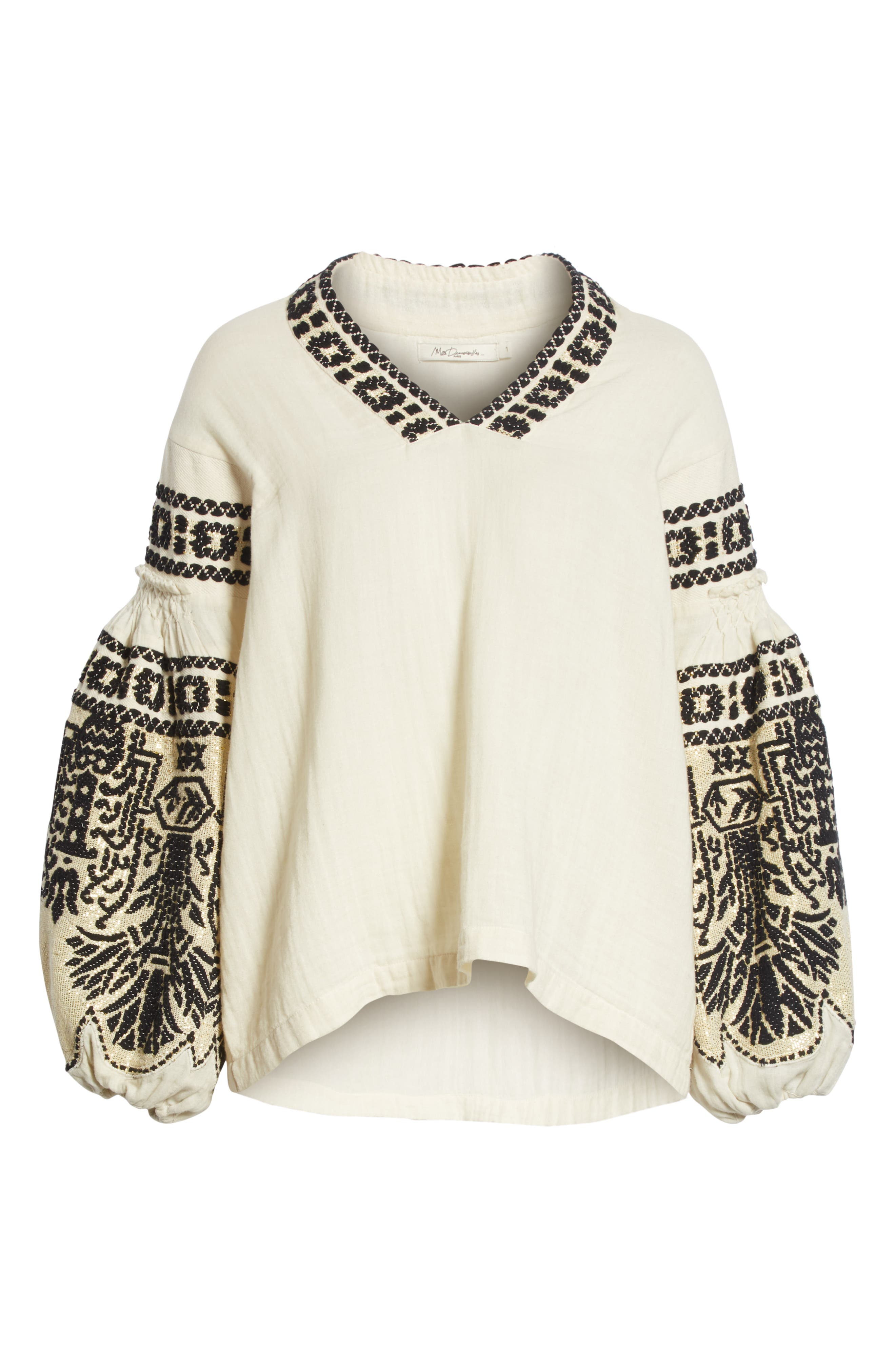Petra Embroidered Blouse,                             Alternate thumbnail 6, color,                             IVORY