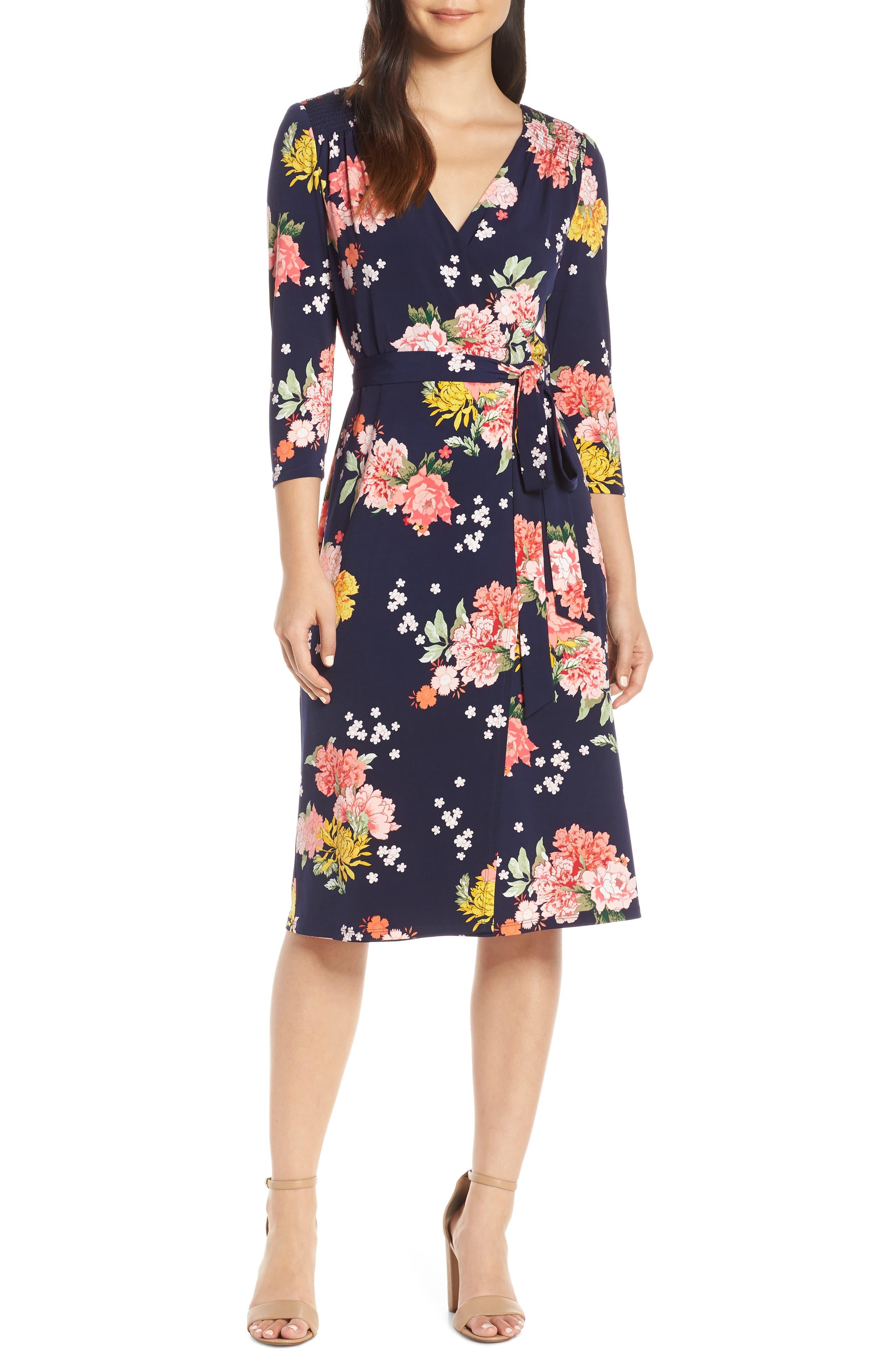 Eliza J Floral Faux Wrap Dress, Blue