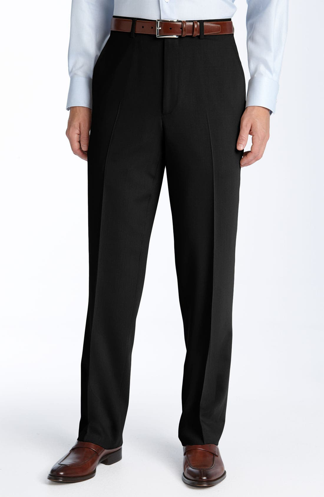 Flat Front Wool Trousers,                         Main,                         color, 001