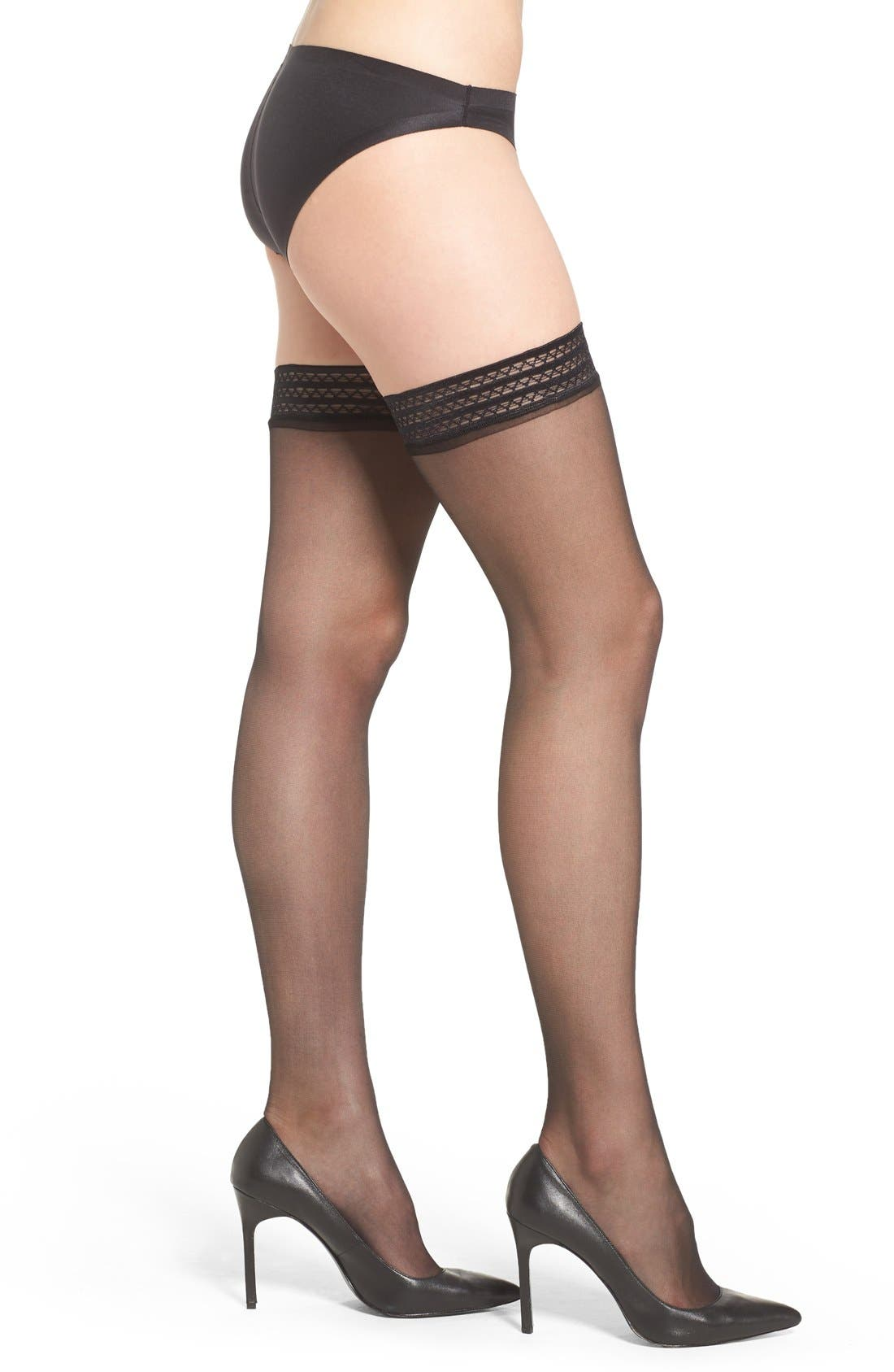 Sheer Thigh High Stay-Up Stockings,                             Main thumbnail 1, color,                             BLACK