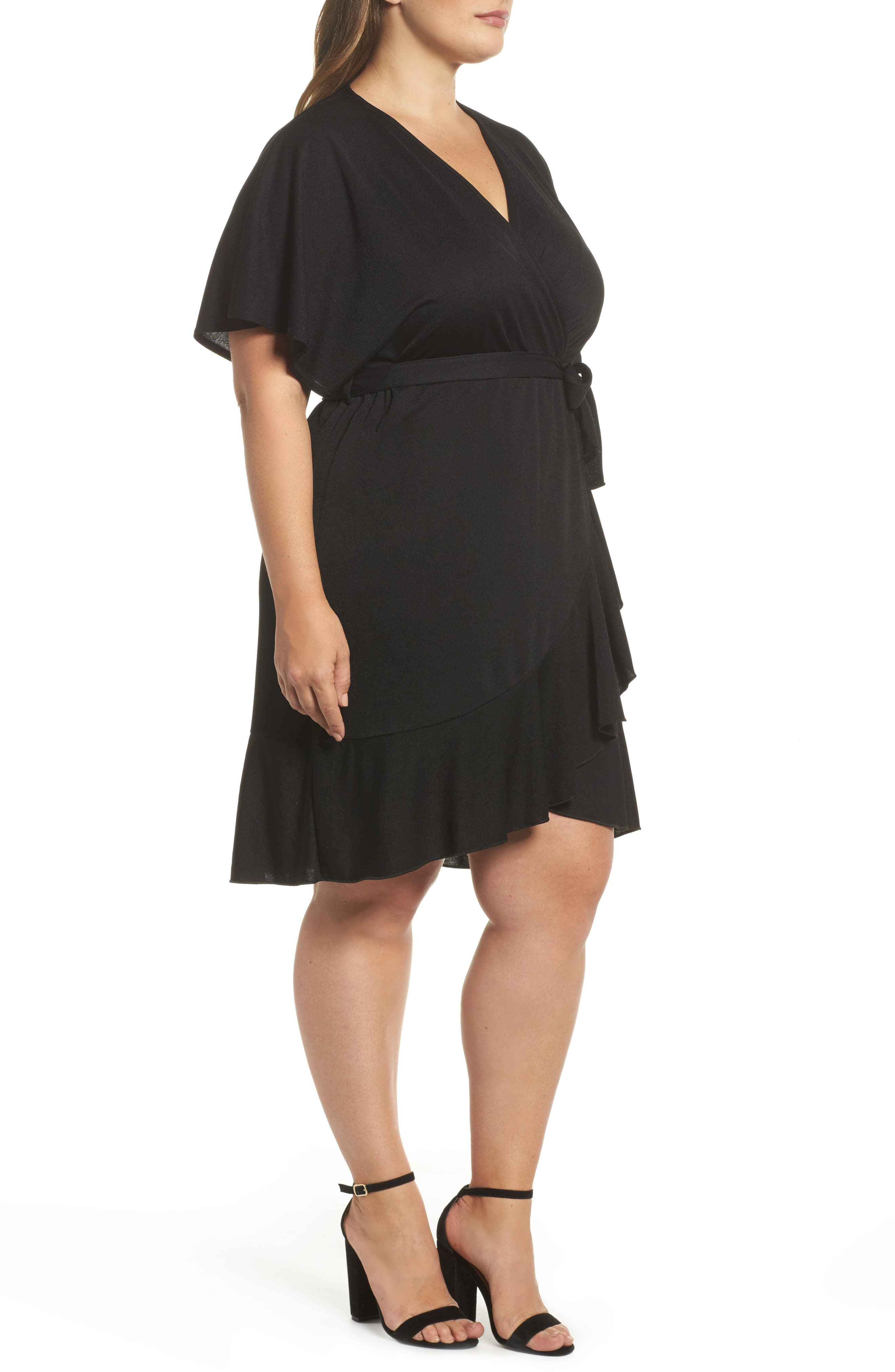 Flutter Sleeve Wrap Dress,                             Alternate thumbnail 3, color,