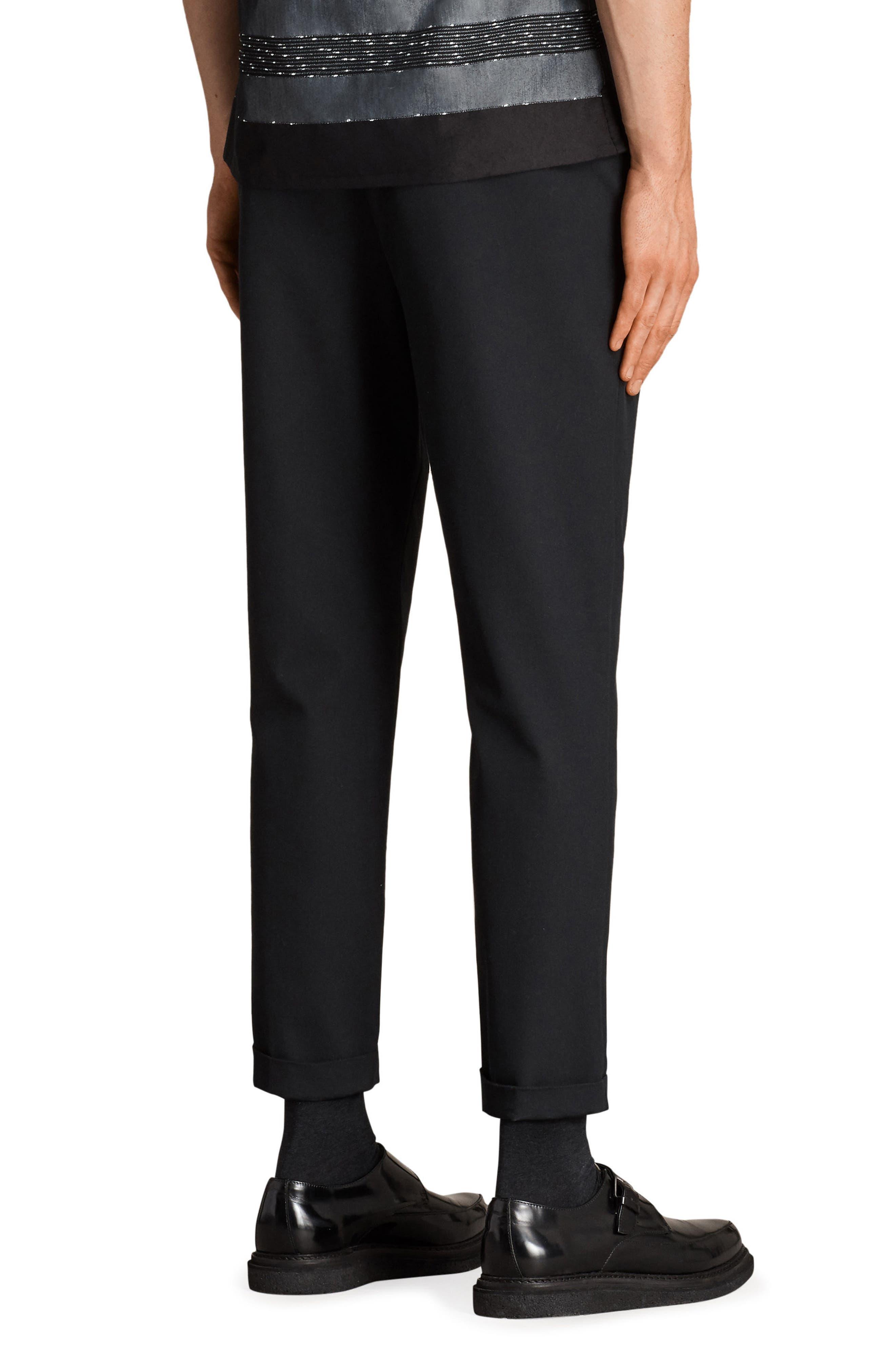 Tallis Pleated Cotton & Wool Trousers,                             Alternate thumbnail 2, color,                             BLACK