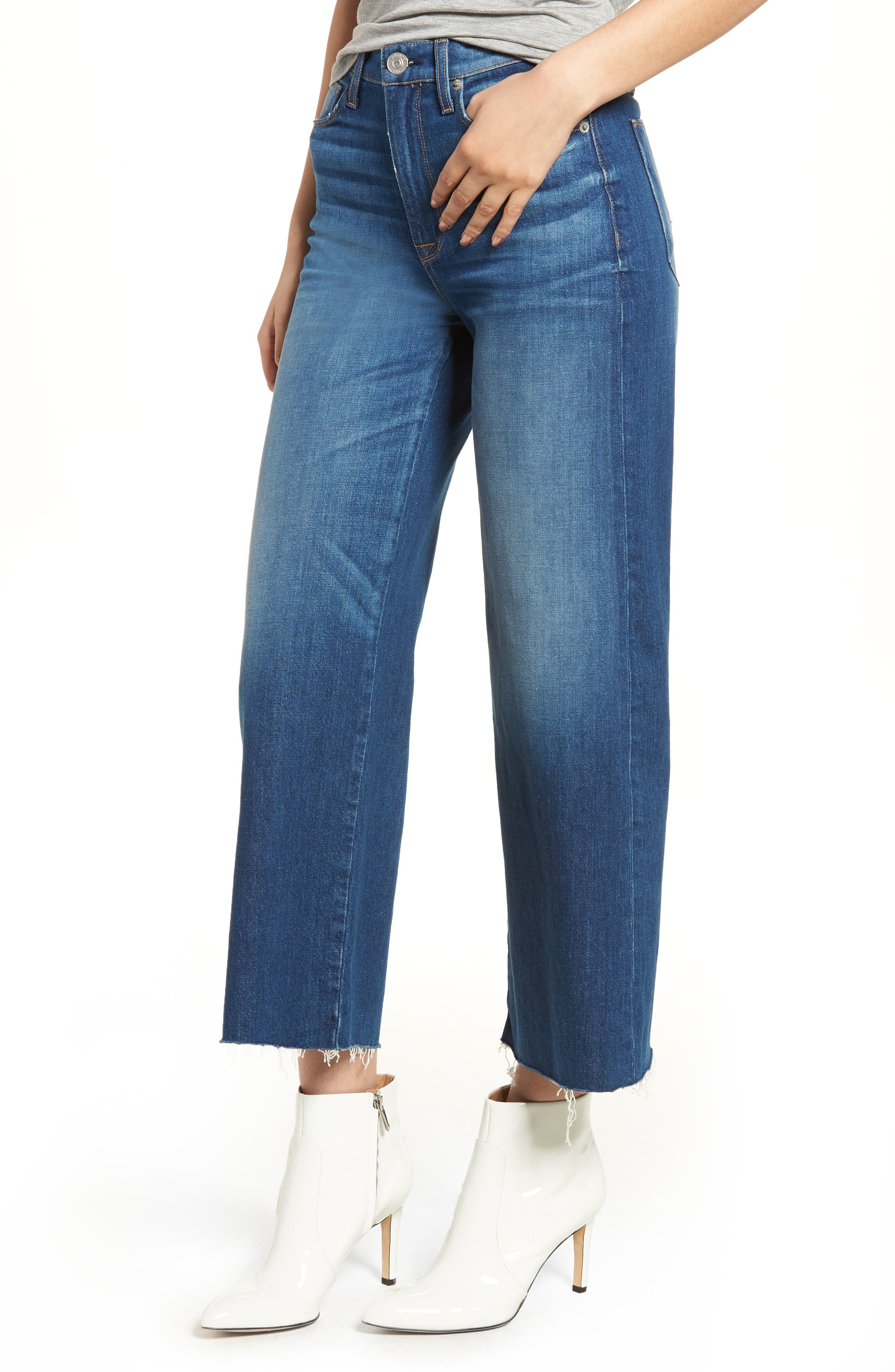 Holly High Waist Raw Hem Crop Wide Leg Jeans,                         Main,                         color, OWN IT