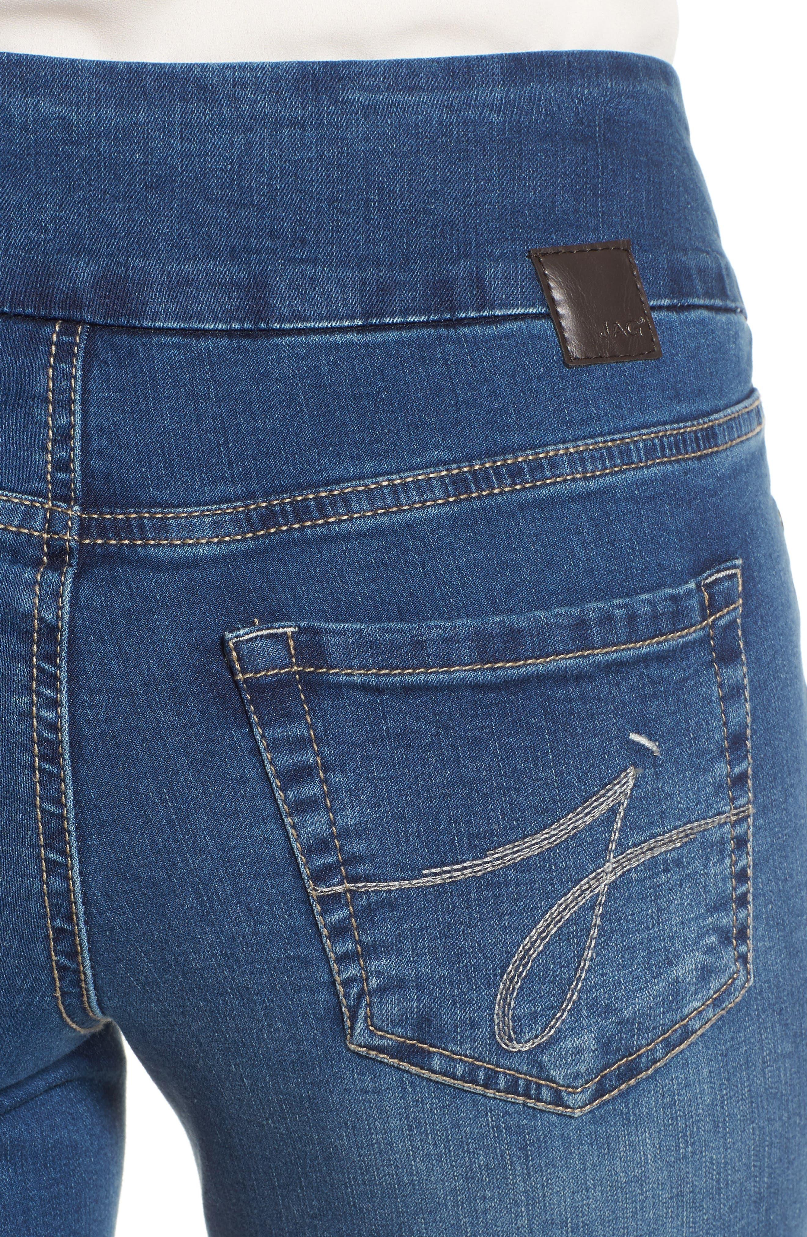 Peri Pull-On Straight Leg Jeans,                             Alternate thumbnail 4, color,                             MEDIUM INDIGO