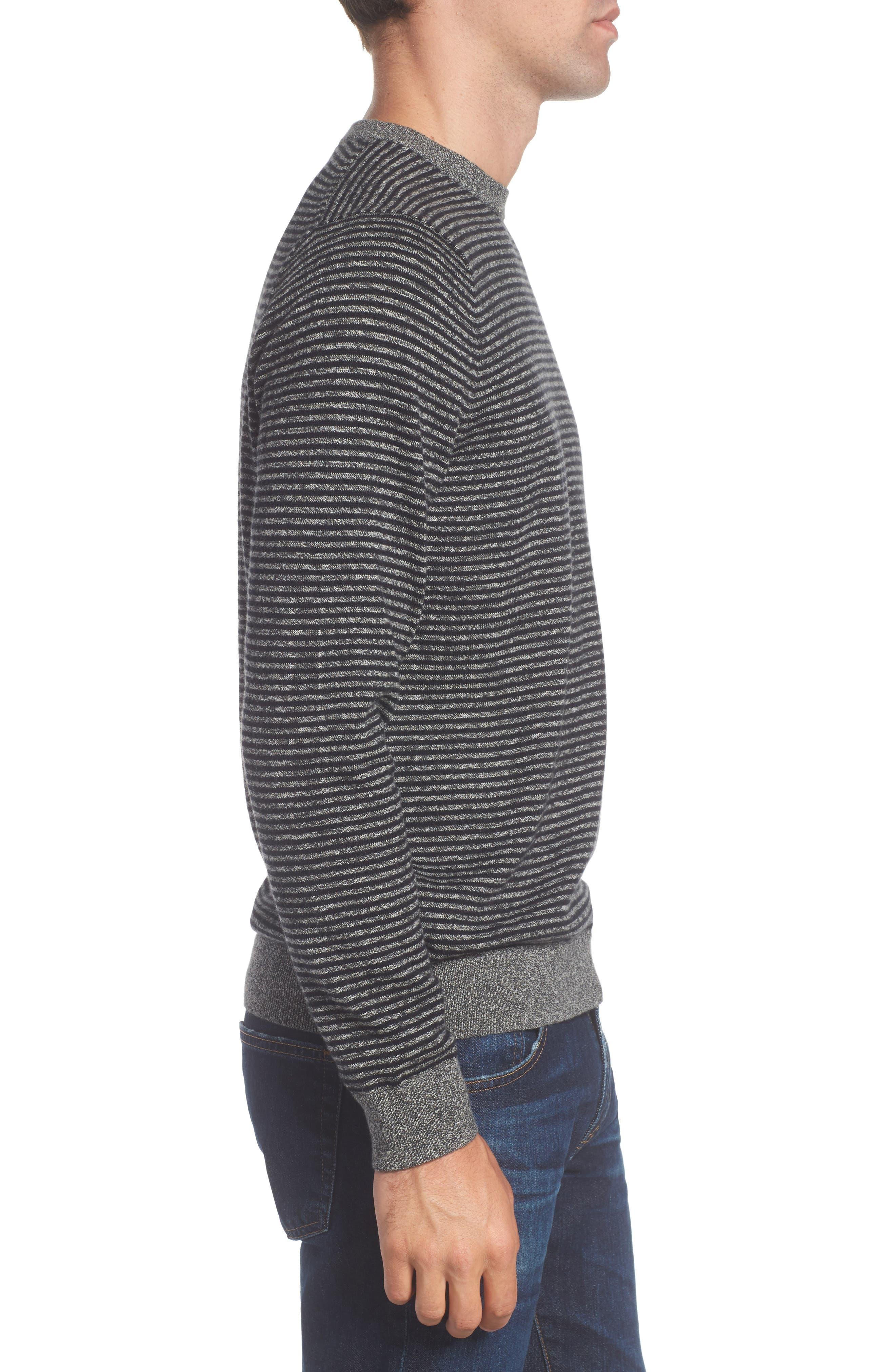 Stripe Cotton & Cashmere Crewneck Sweater,                             Alternate thumbnail 3, color,                             001