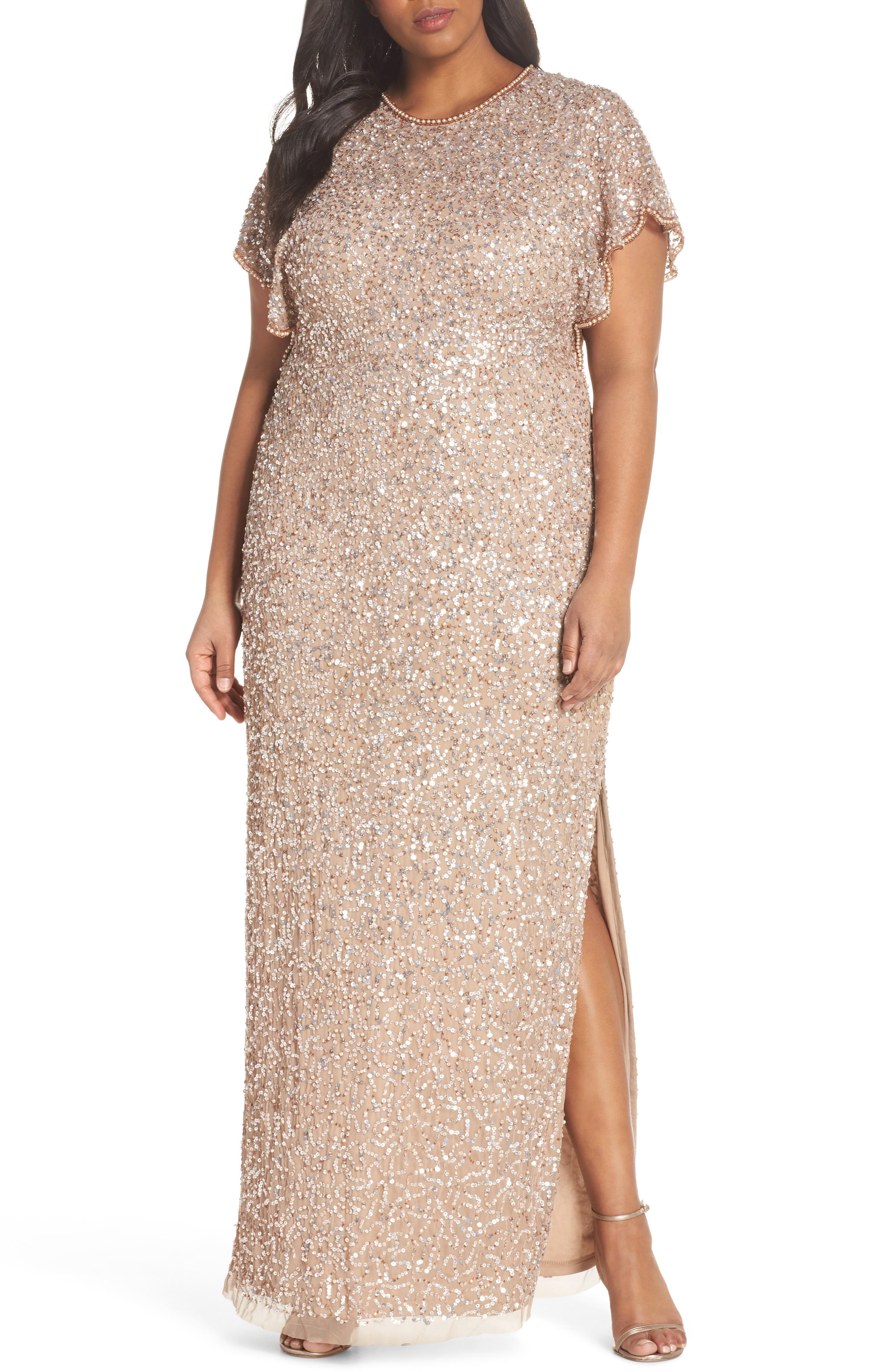 Flutter Sleeve Beaded Sequin Gown,                             Main thumbnail 1, color,                             710