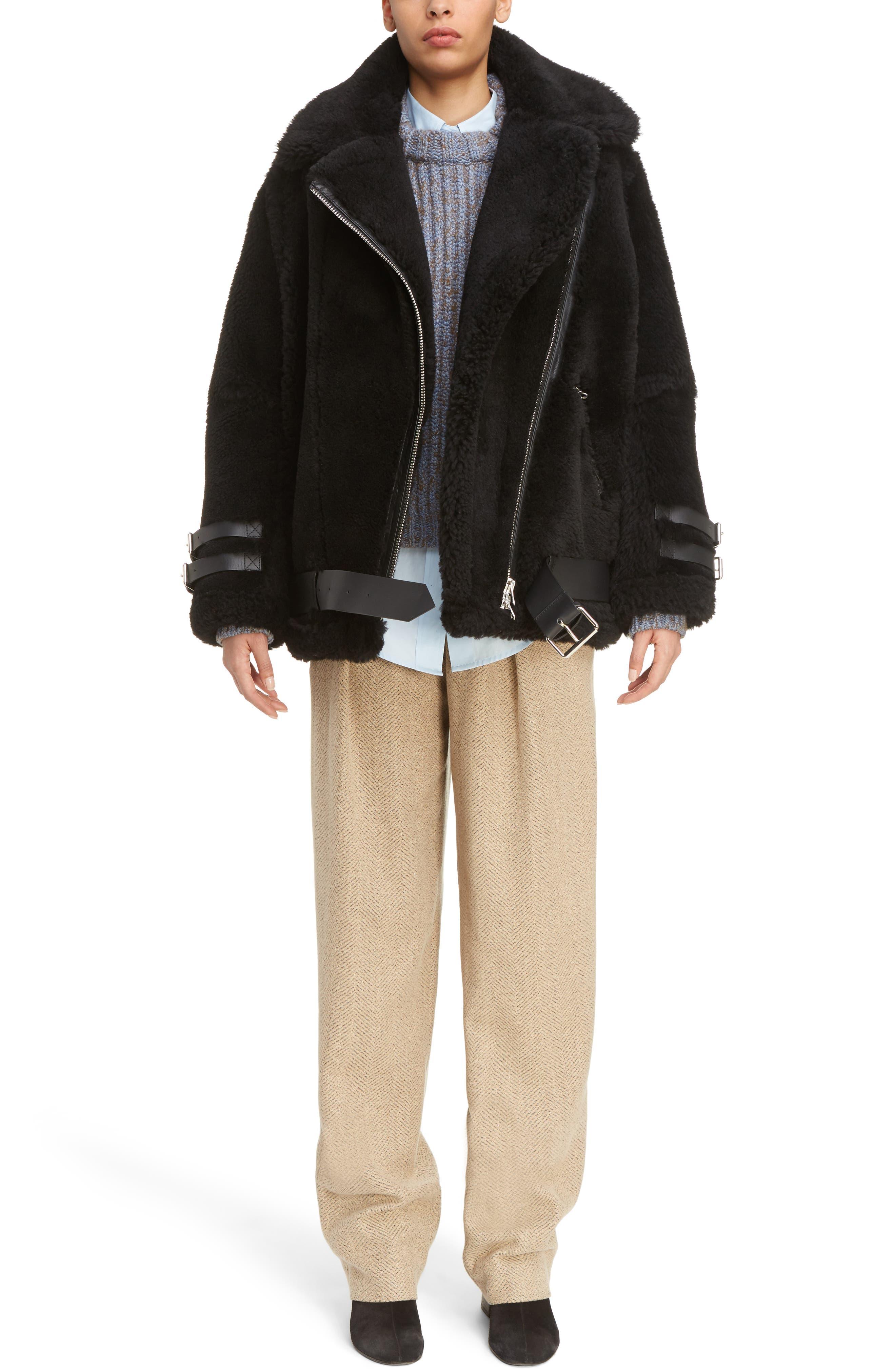Velocite Genuine Shearling Oversize Moto Jacket,                             Main thumbnail 1, color,                             001