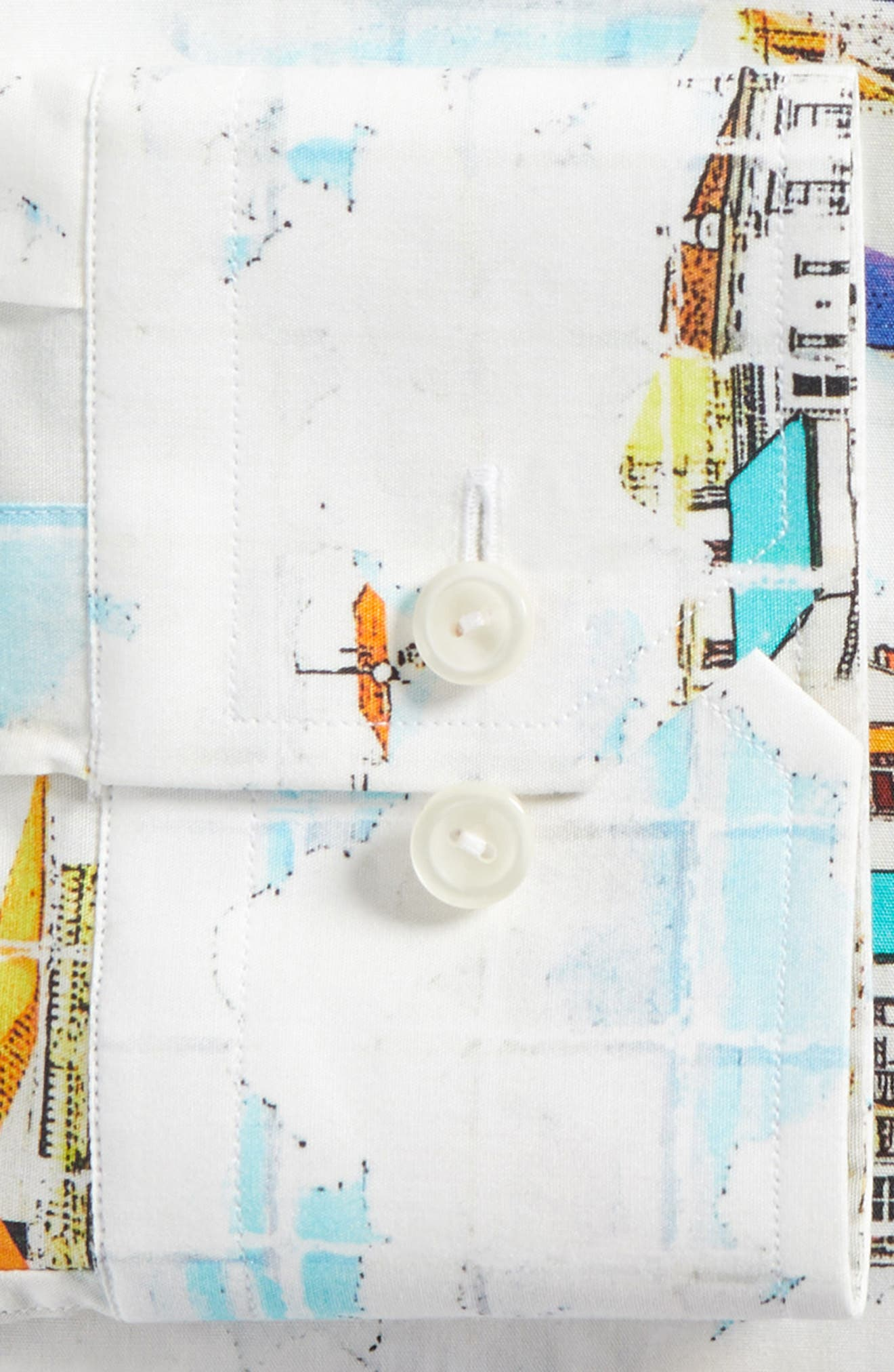 Slim Fit Print Dress Shirt,                             Alternate thumbnail 6, color,                             YELLOW