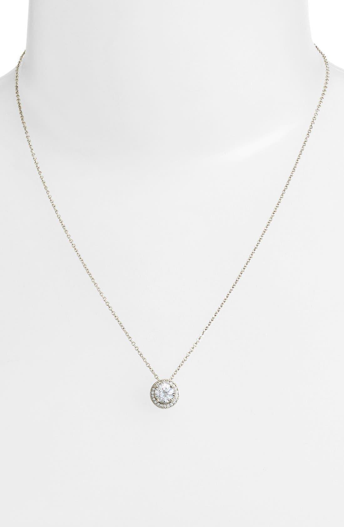 'Lassaire' Pendant Necklace,                             Alternate thumbnail 2, color,                             SILVER/ CLEAR