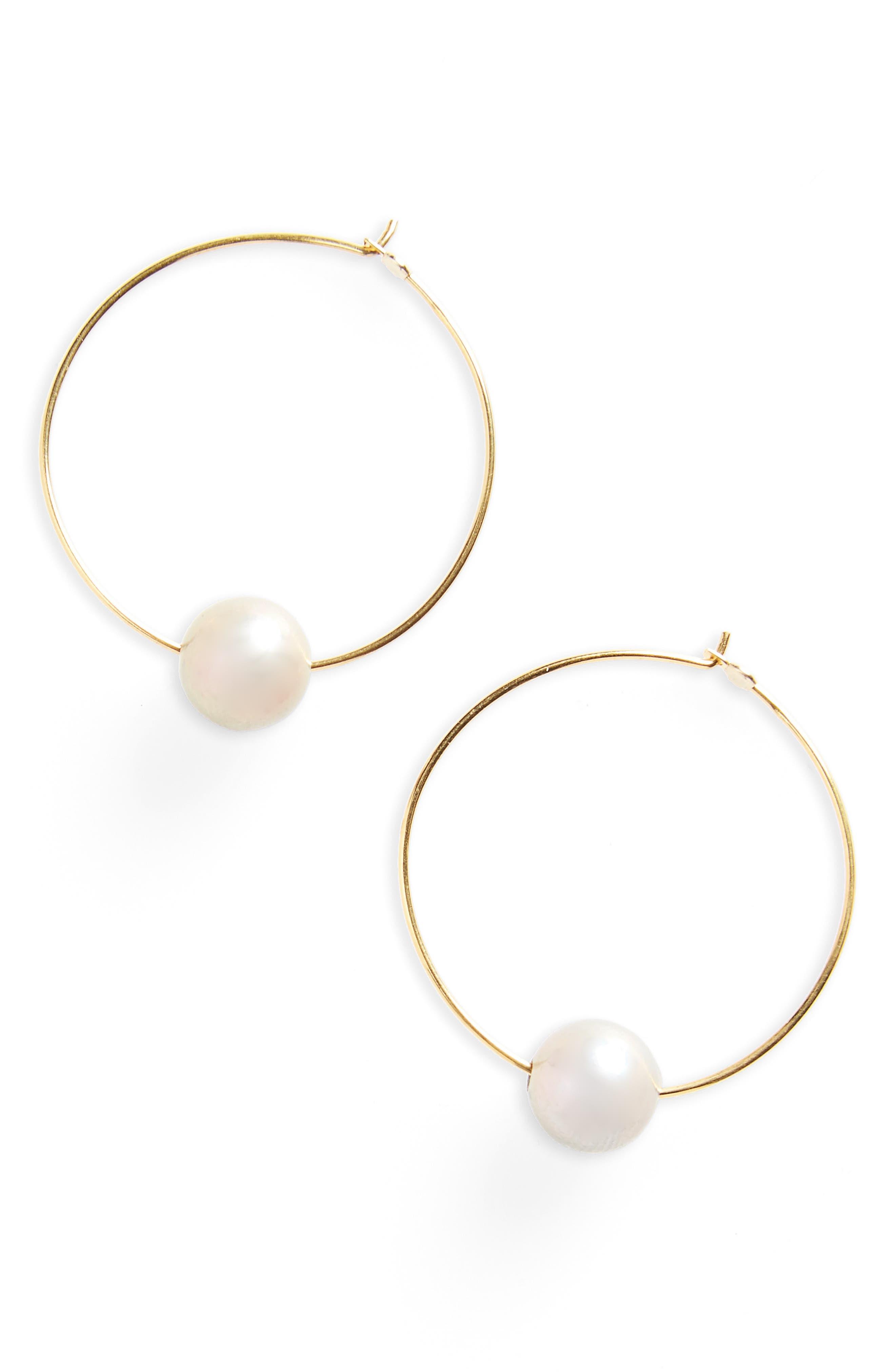 Freshwater Pearl Hoop Earrings,                             Main thumbnail 1, color,