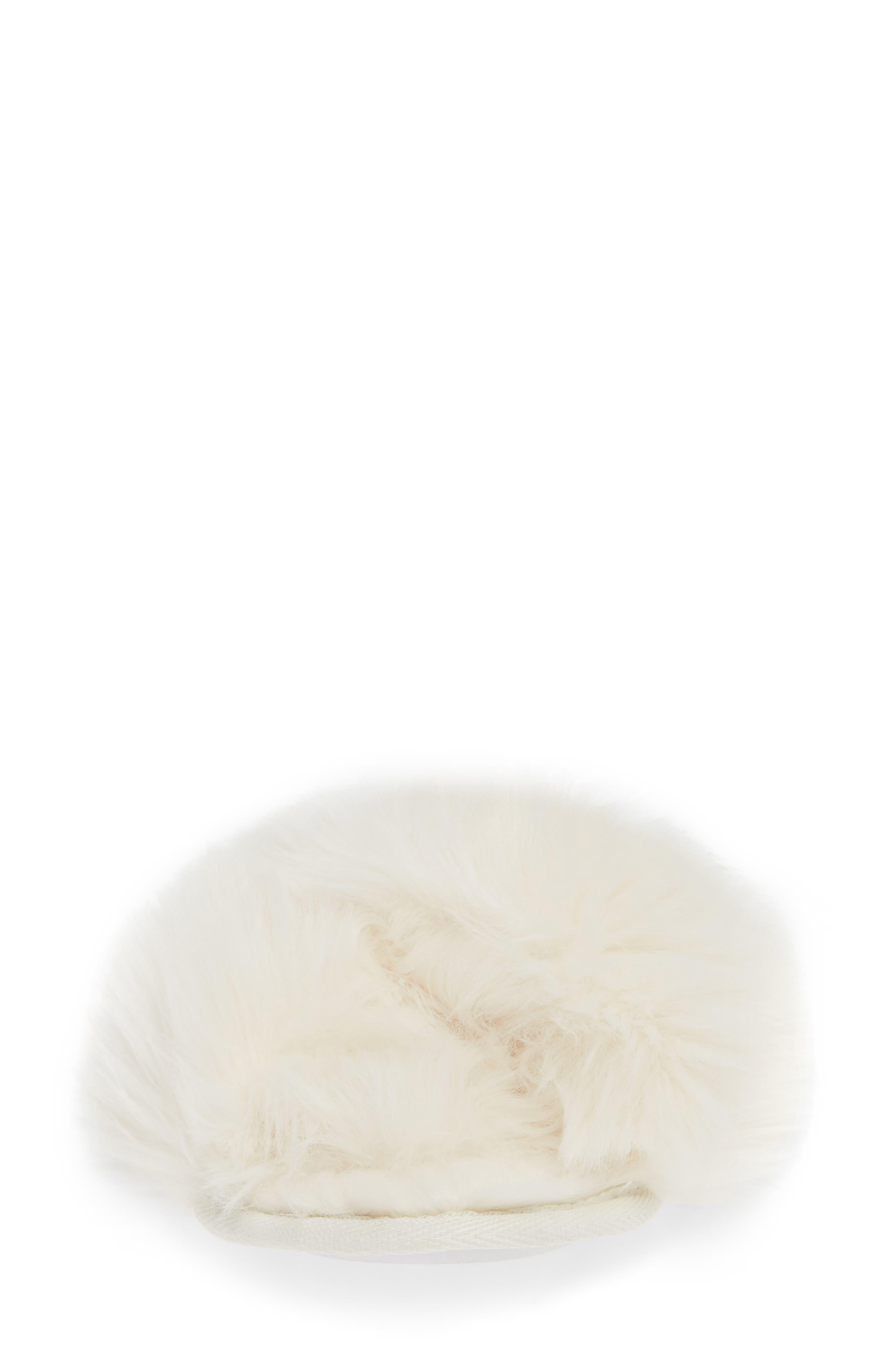 Cuddle Plush Faux Fur Scuff Slipper,                             Alternate thumbnail 4, color,                             IVORY