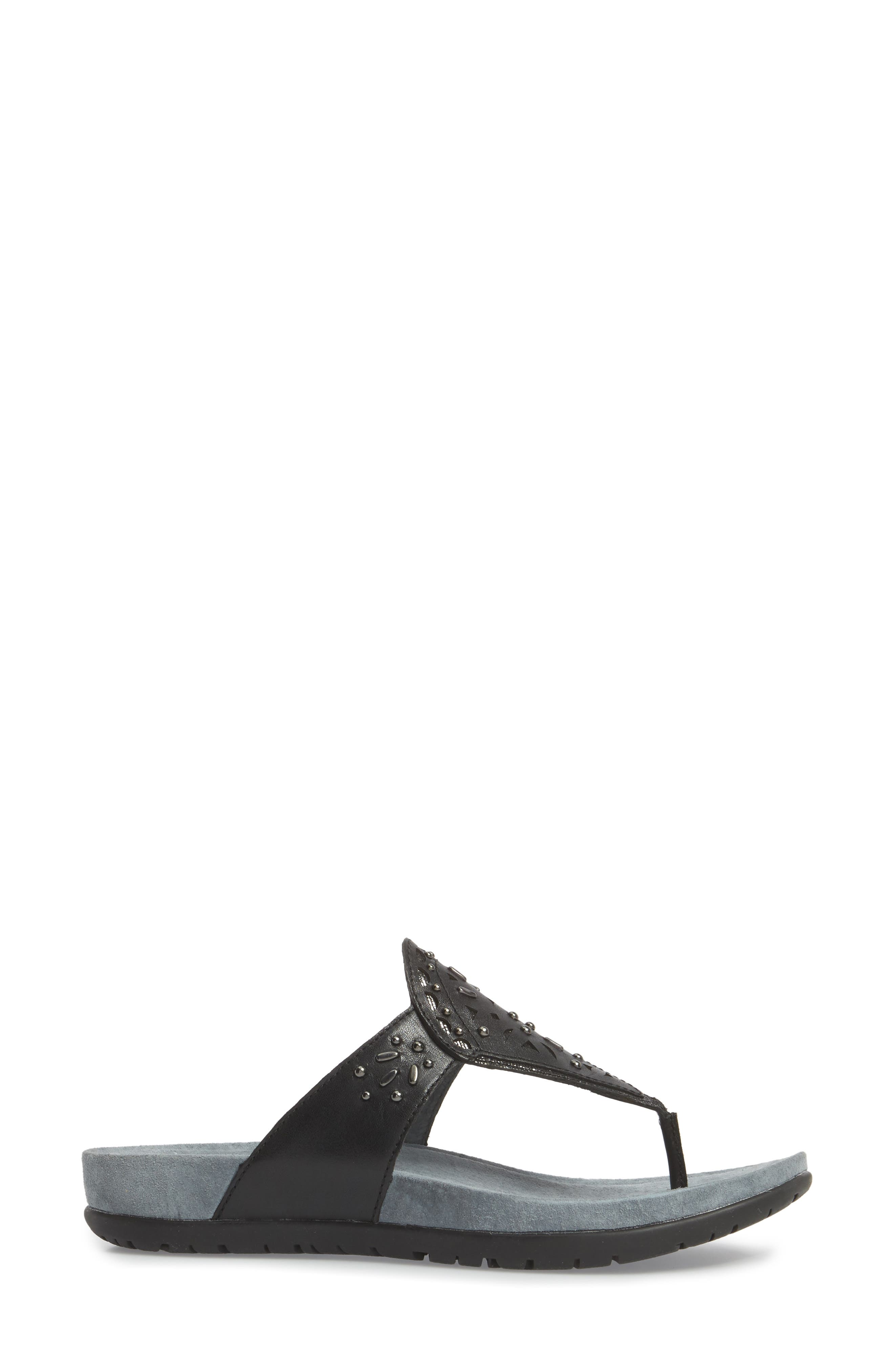 Benita Embellished Flip Flop,                             Alternate thumbnail 3, color,                             001
