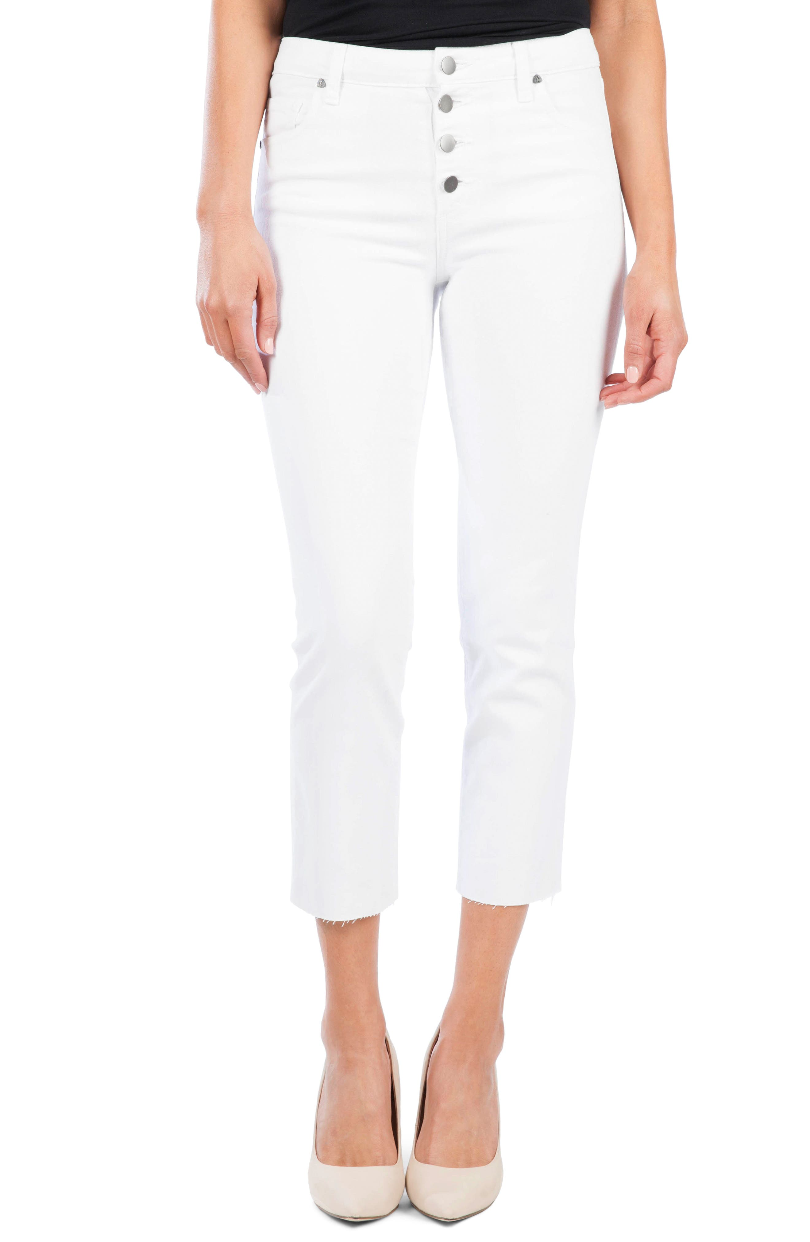 Kut From The Kloth Reese Button Fly Ankle Slim Jeans, White