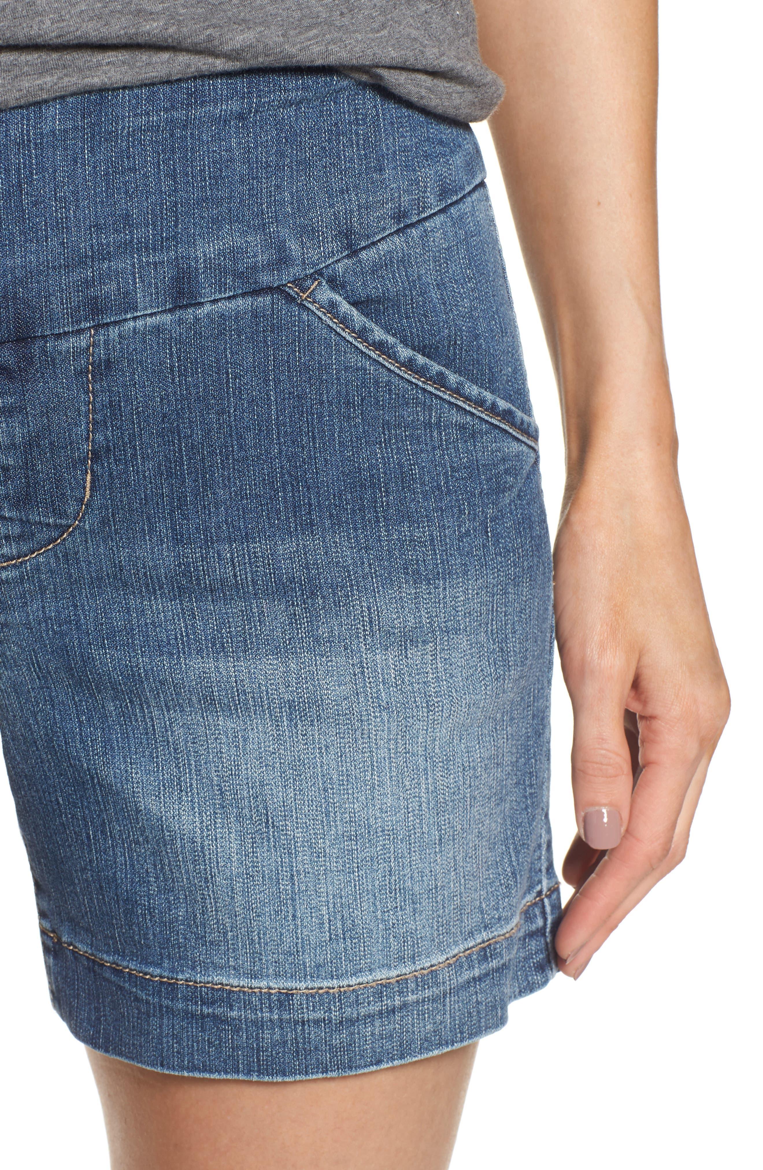 Ainsley Pull-On Denim Shorts,                             Alternate thumbnail 4, color,                             402