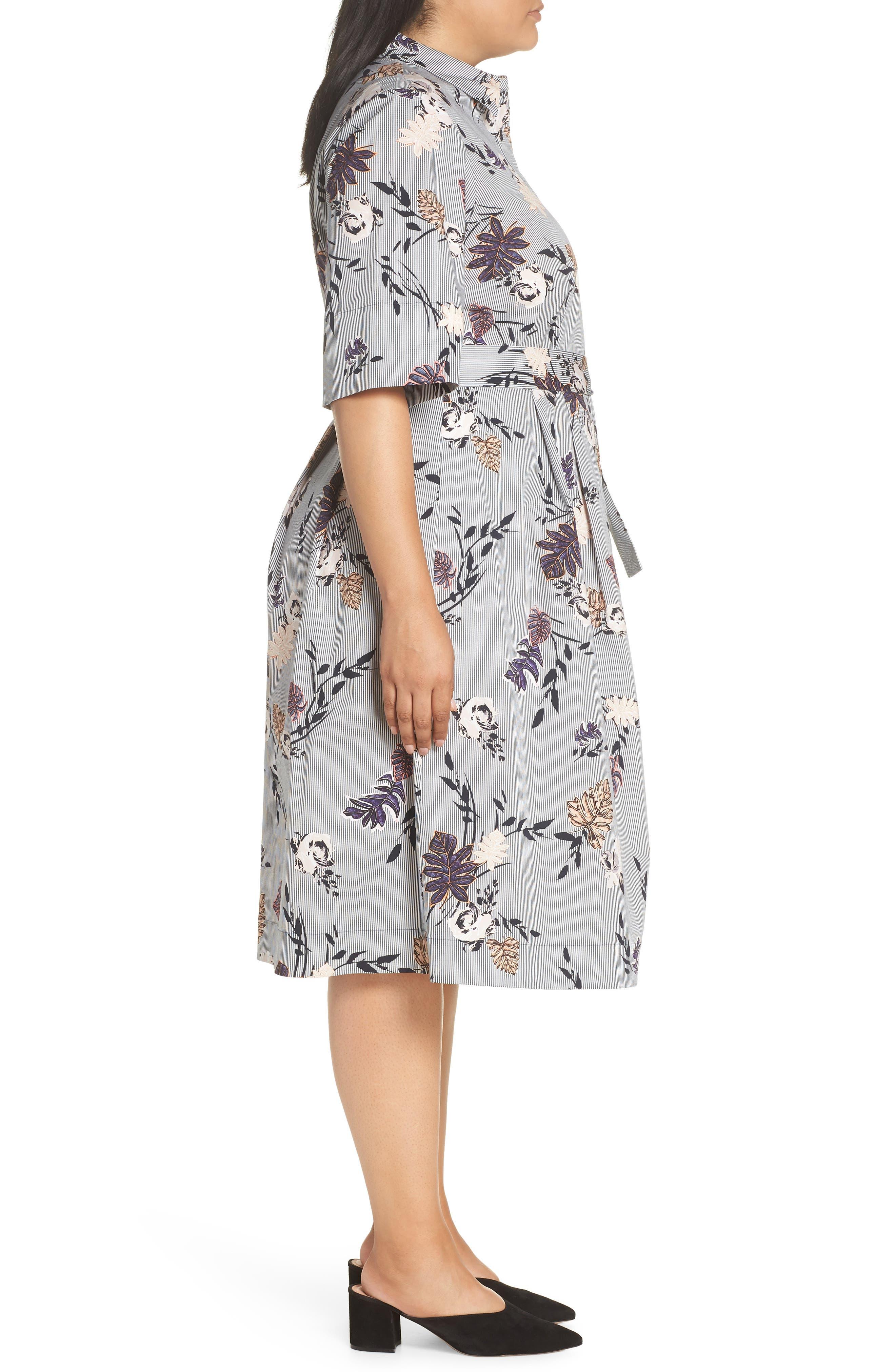 Eleni Floral Stripe Shirtdress,                             Alternate thumbnail 3, color,                             INK MULTI