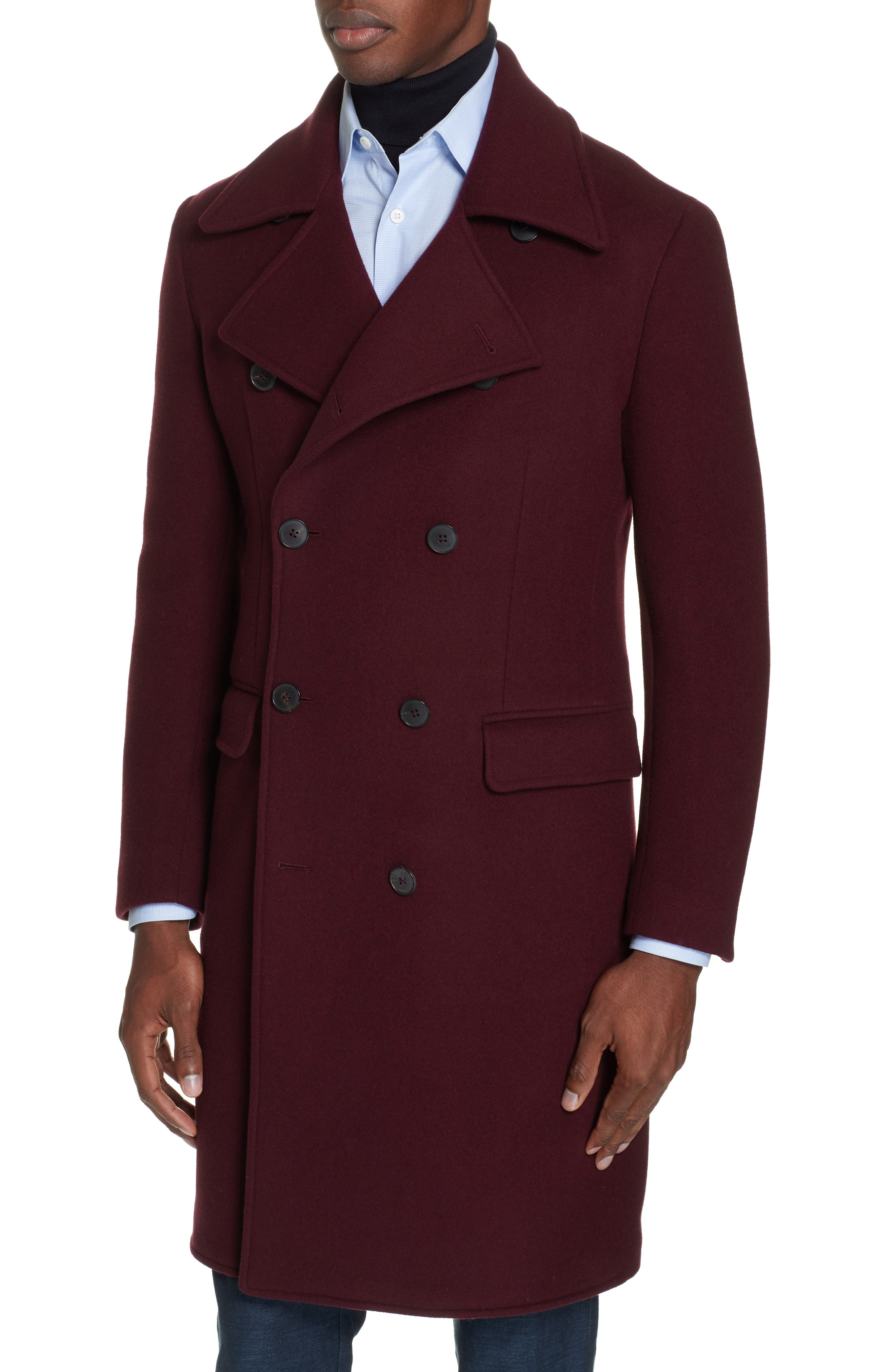 Double Breasted Wool & Cashmere Overcoat,                             Alternate thumbnail 4, color,                             930