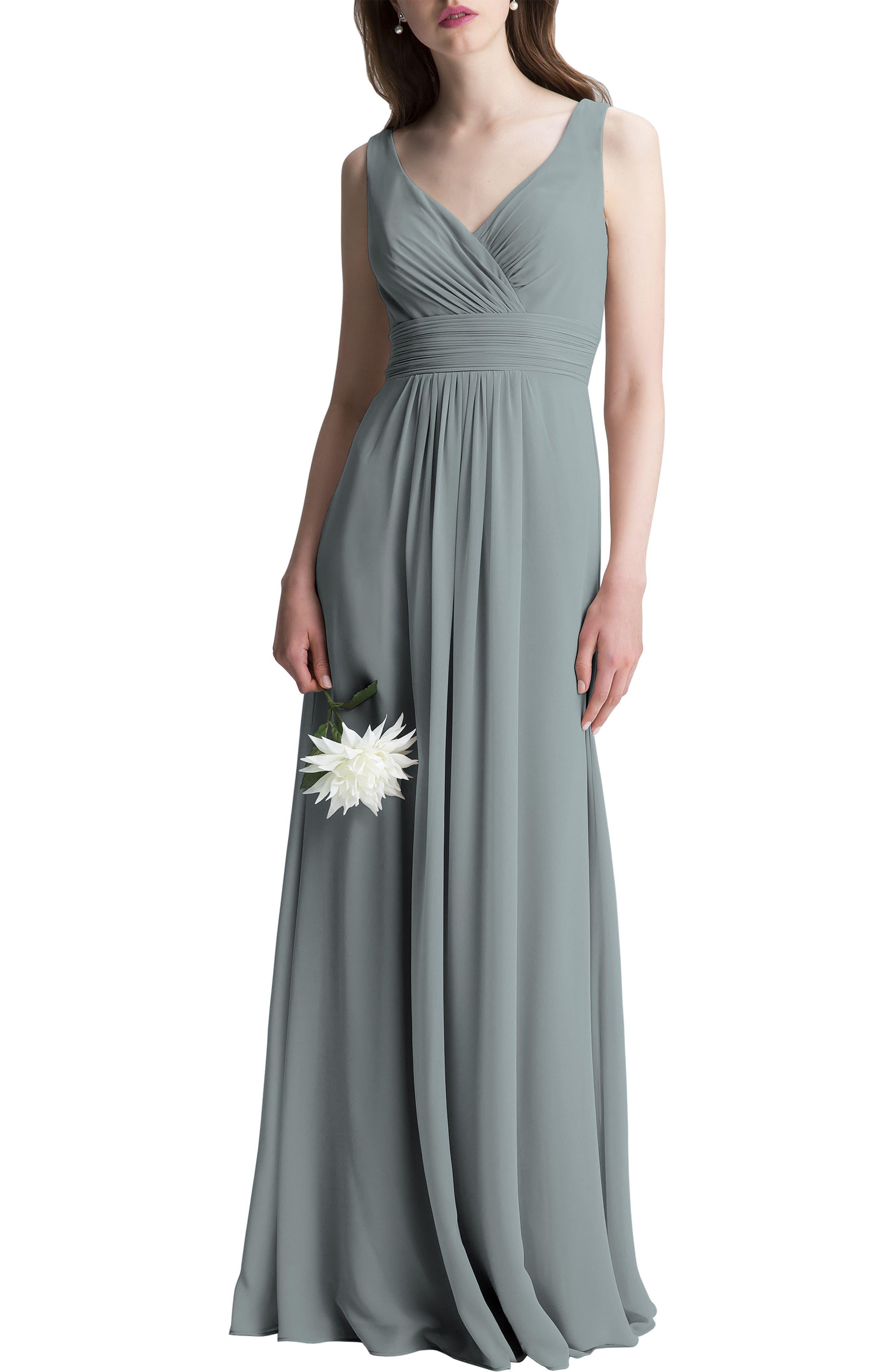 V-Neck Chiffon A-Line Gown,                             Main thumbnail 1, color,                             SLATE