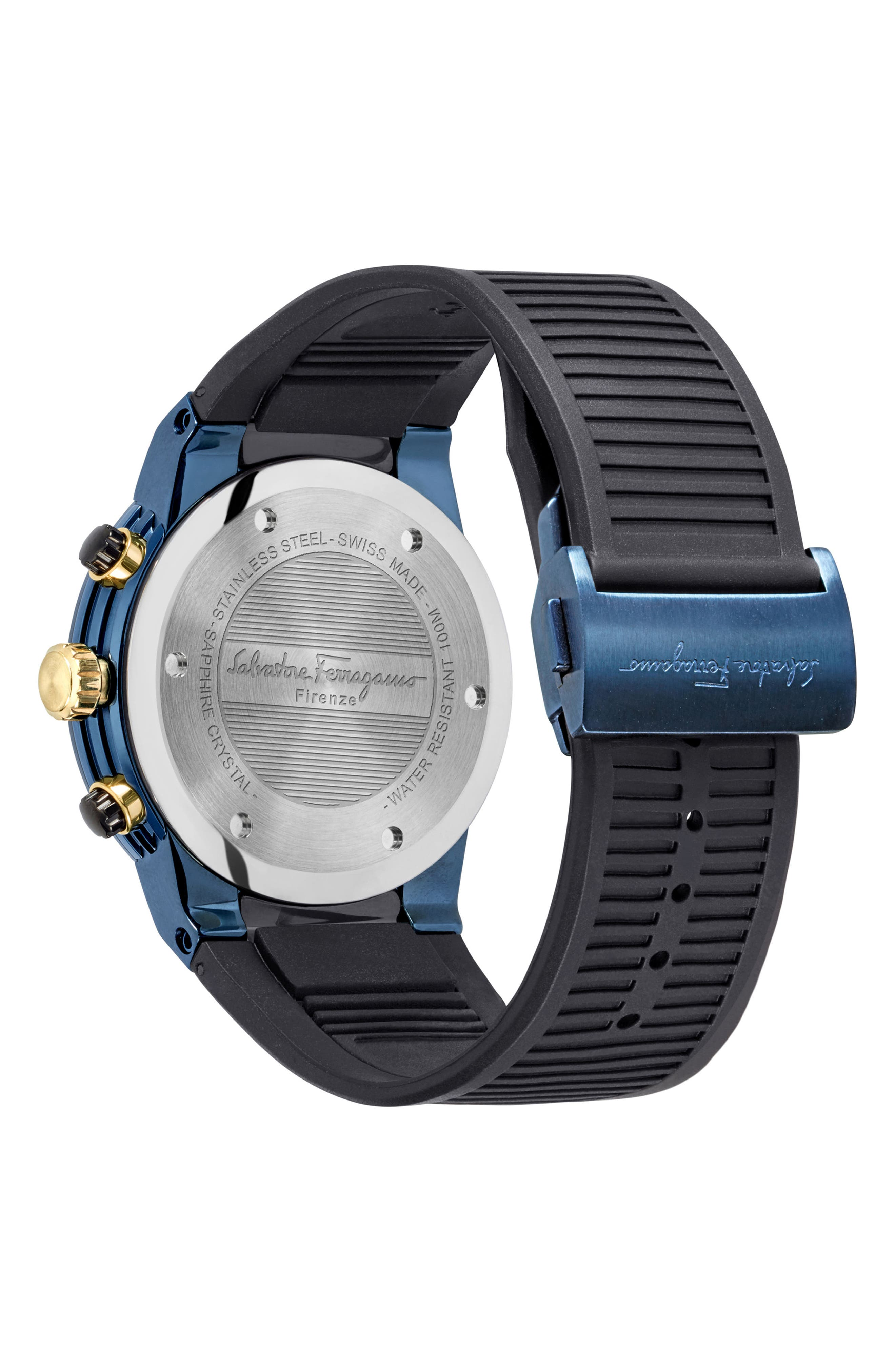 F-80 Chronograph Rubber Strap Watch, 44mm,                             Alternate thumbnail 2, color,                             BLACK/ BLUE