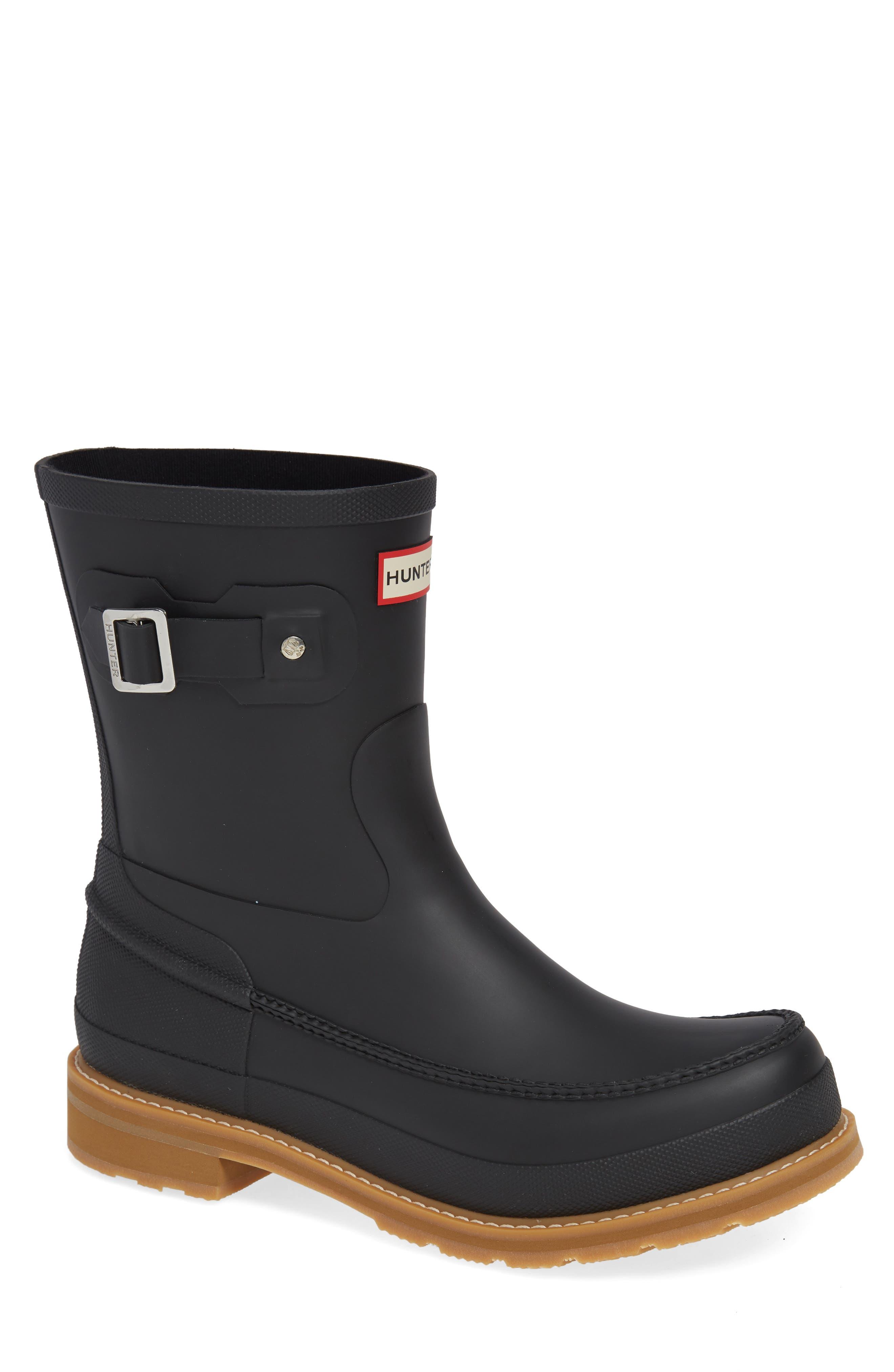 HUNTER,                             Waterproof Lightweight Short Boot,                             Main thumbnail 1, color,                             BLACK