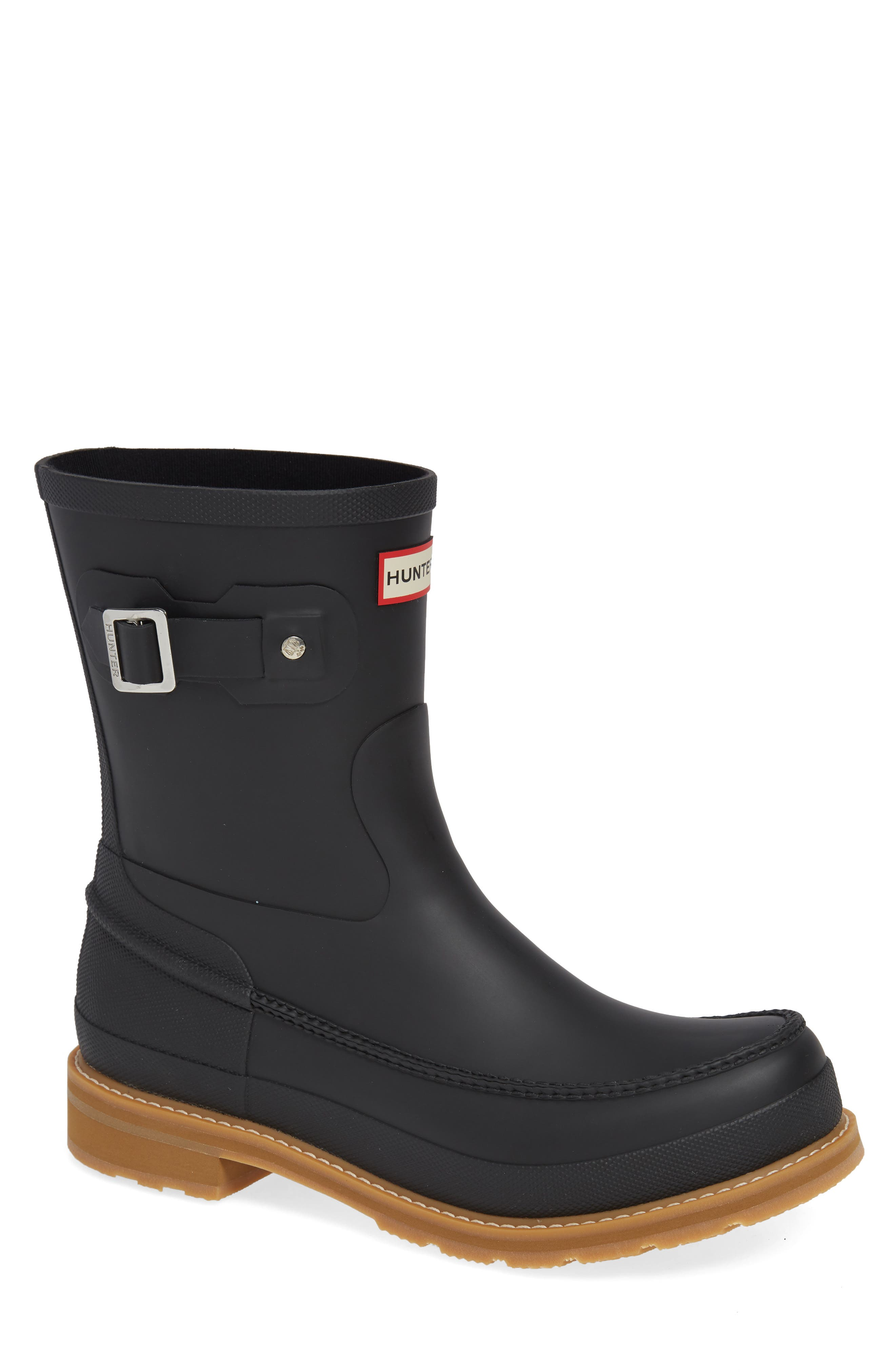 HUNTER Waterproof Lightweight Short Boot, Main, color, BLACK