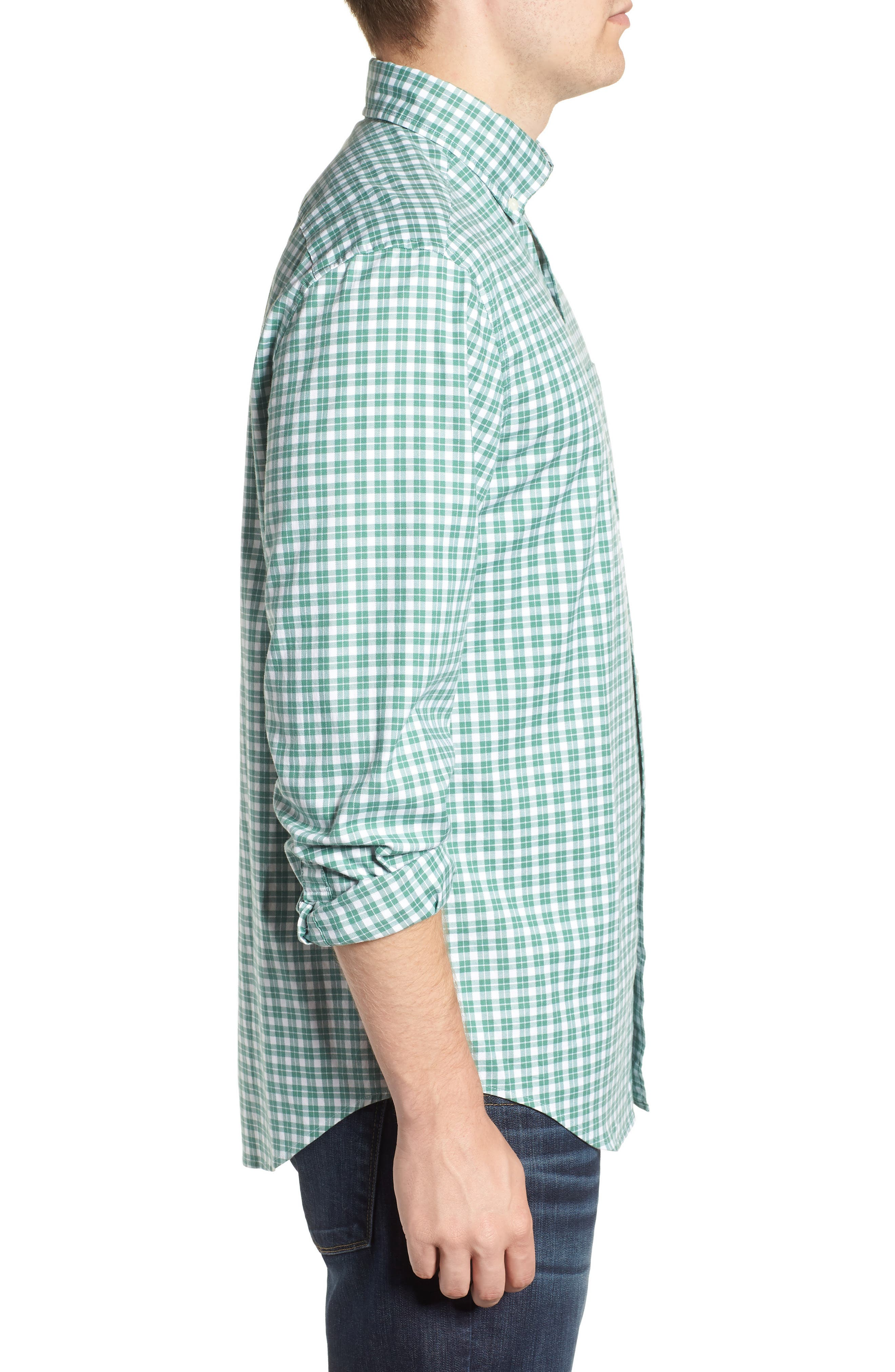 Eagle Hill Classic Fit Check Sport Shirt,                             Alternate thumbnail 4, color,                             STARBOARD GREEN