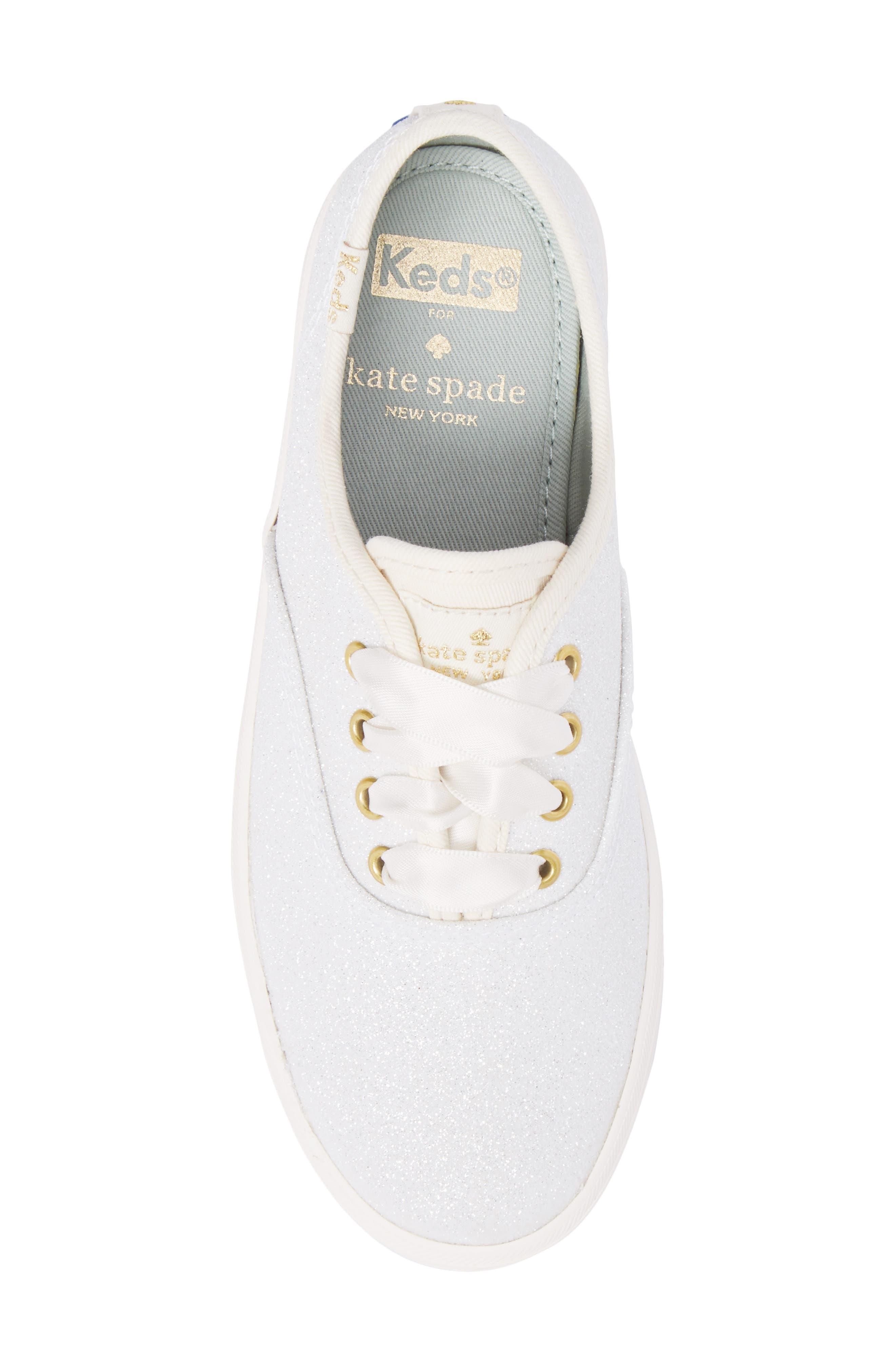 x kate spade new york Champion Glitter Sneaker,                             Alternate thumbnail 5, color,                             CREAM