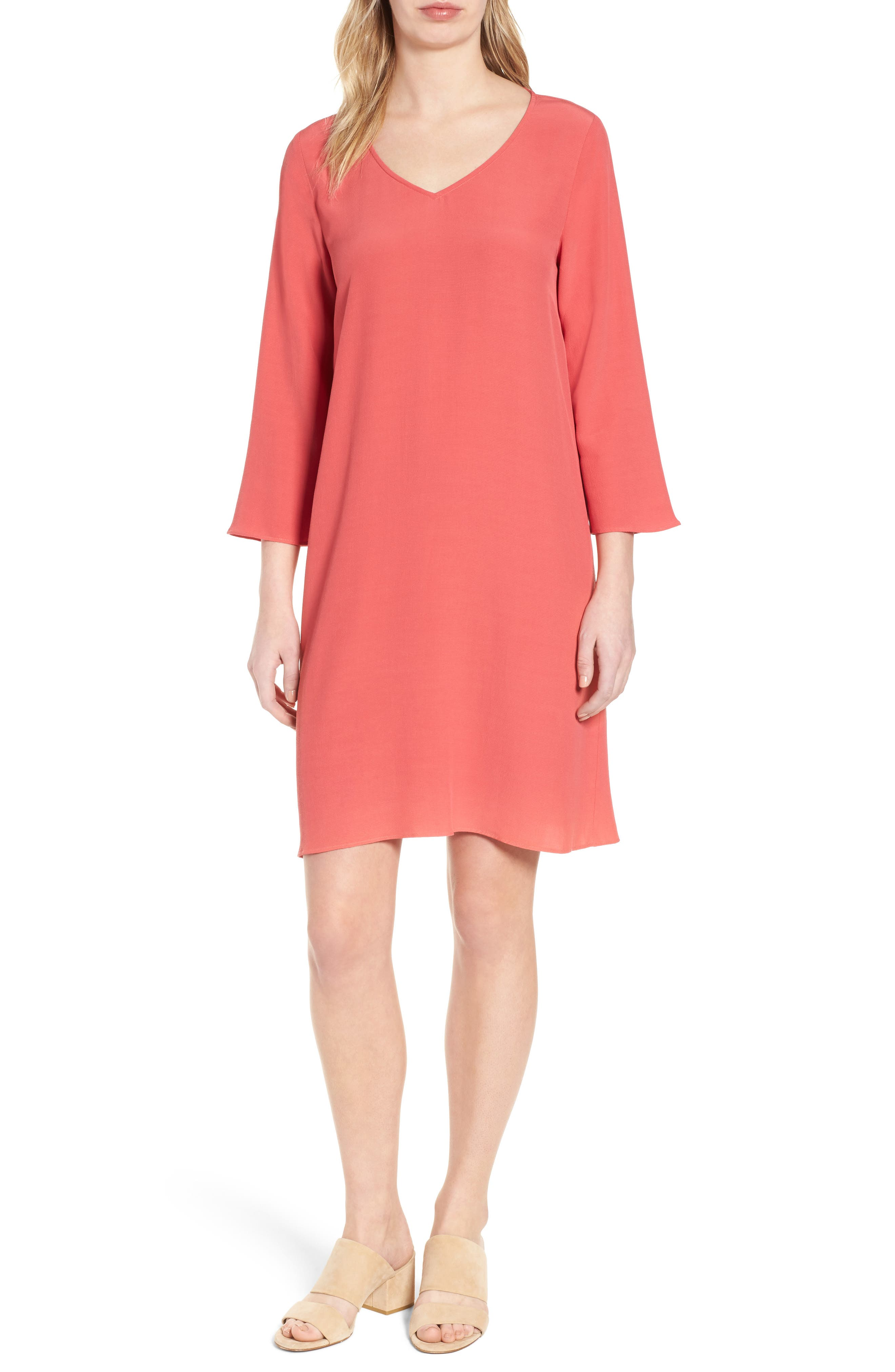 V-Neck Shift Dress,                             Main thumbnail 2, color,