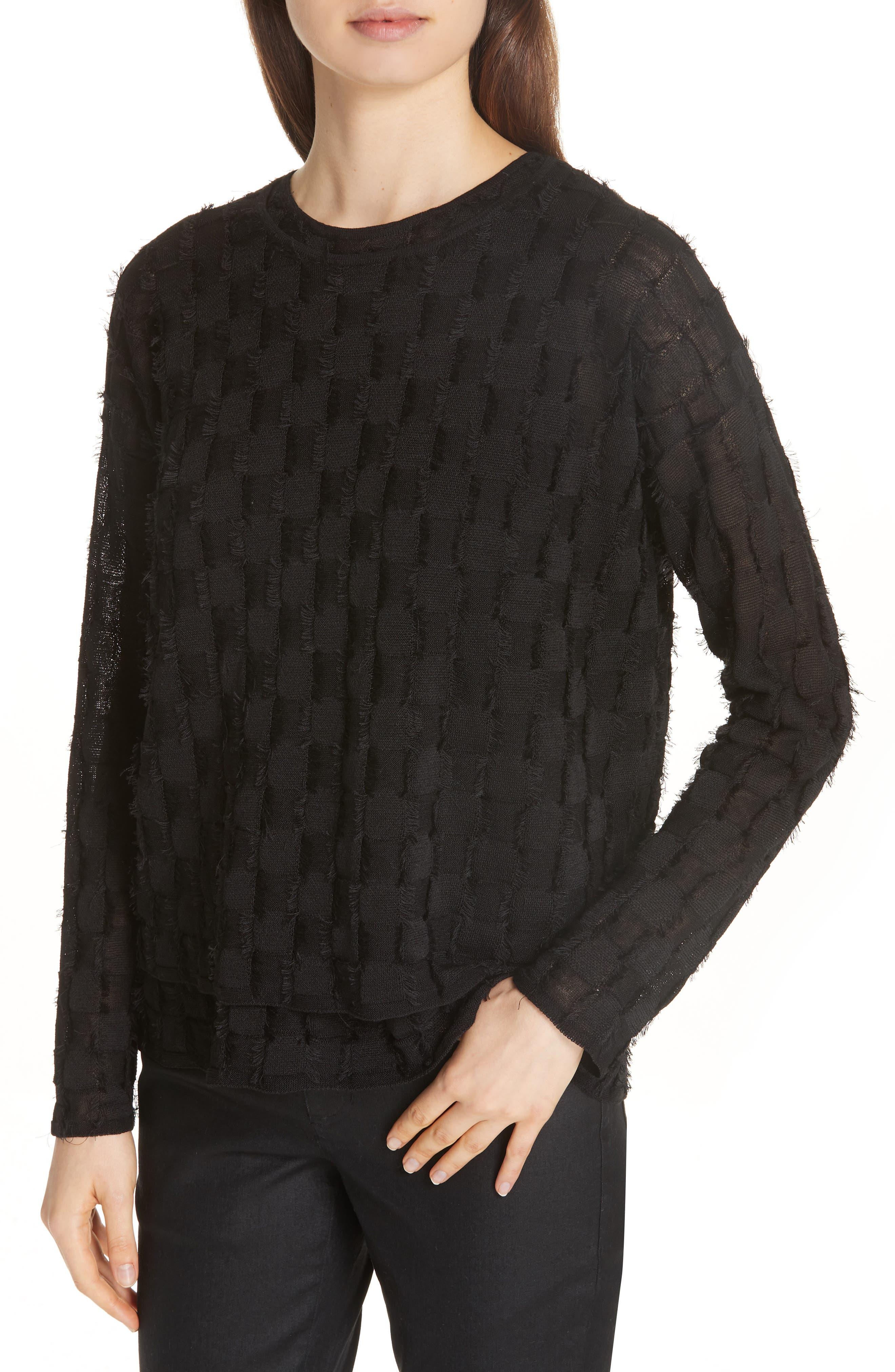 Fringe Knit Sweater,                             Alternate thumbnail 4, color,                             001