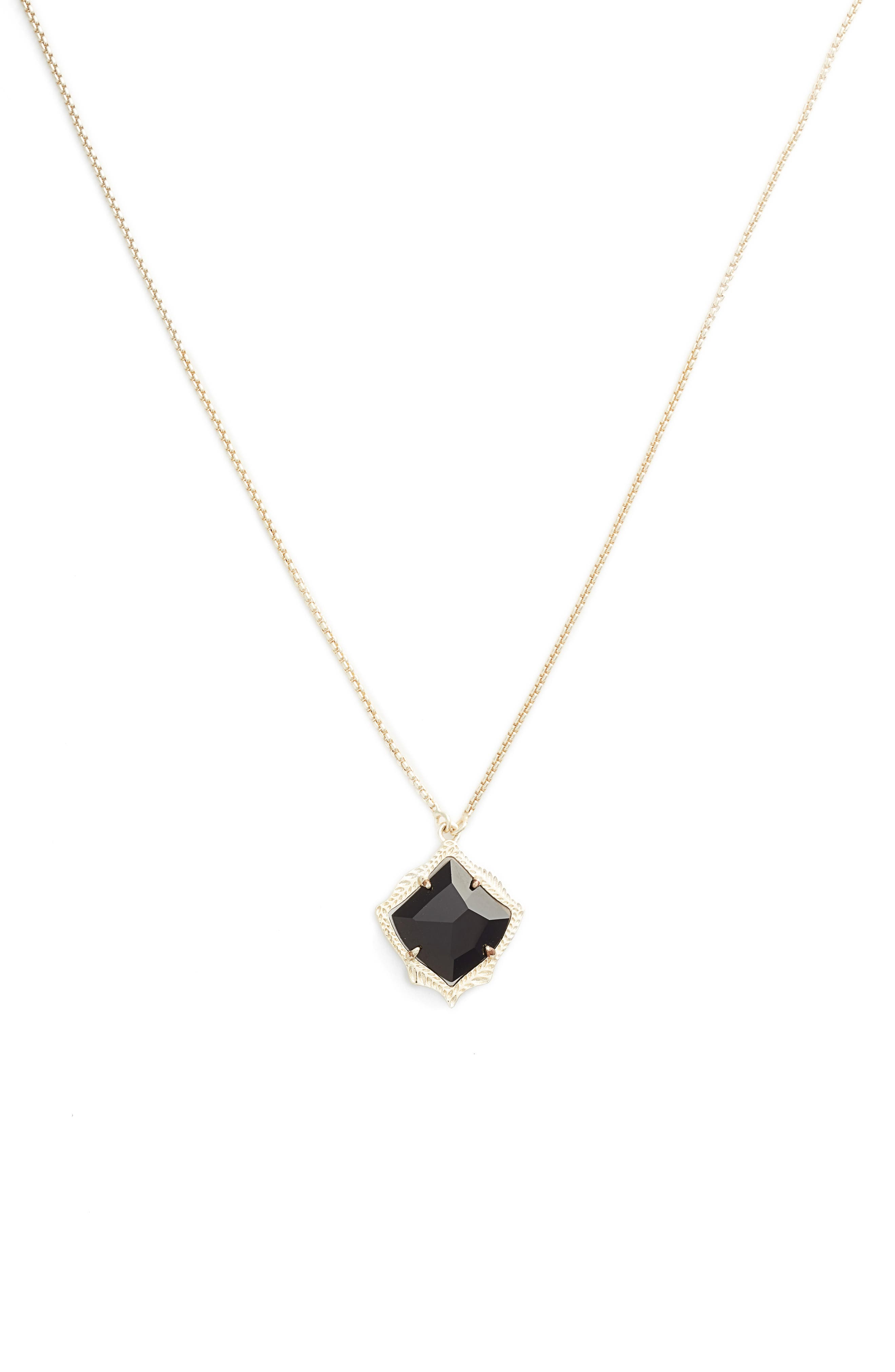 Kacey Adjustable Pendant Necklace,                             Main thumbnail 1, color,                             BLACK OPAQUE GLASS/ GOLD
