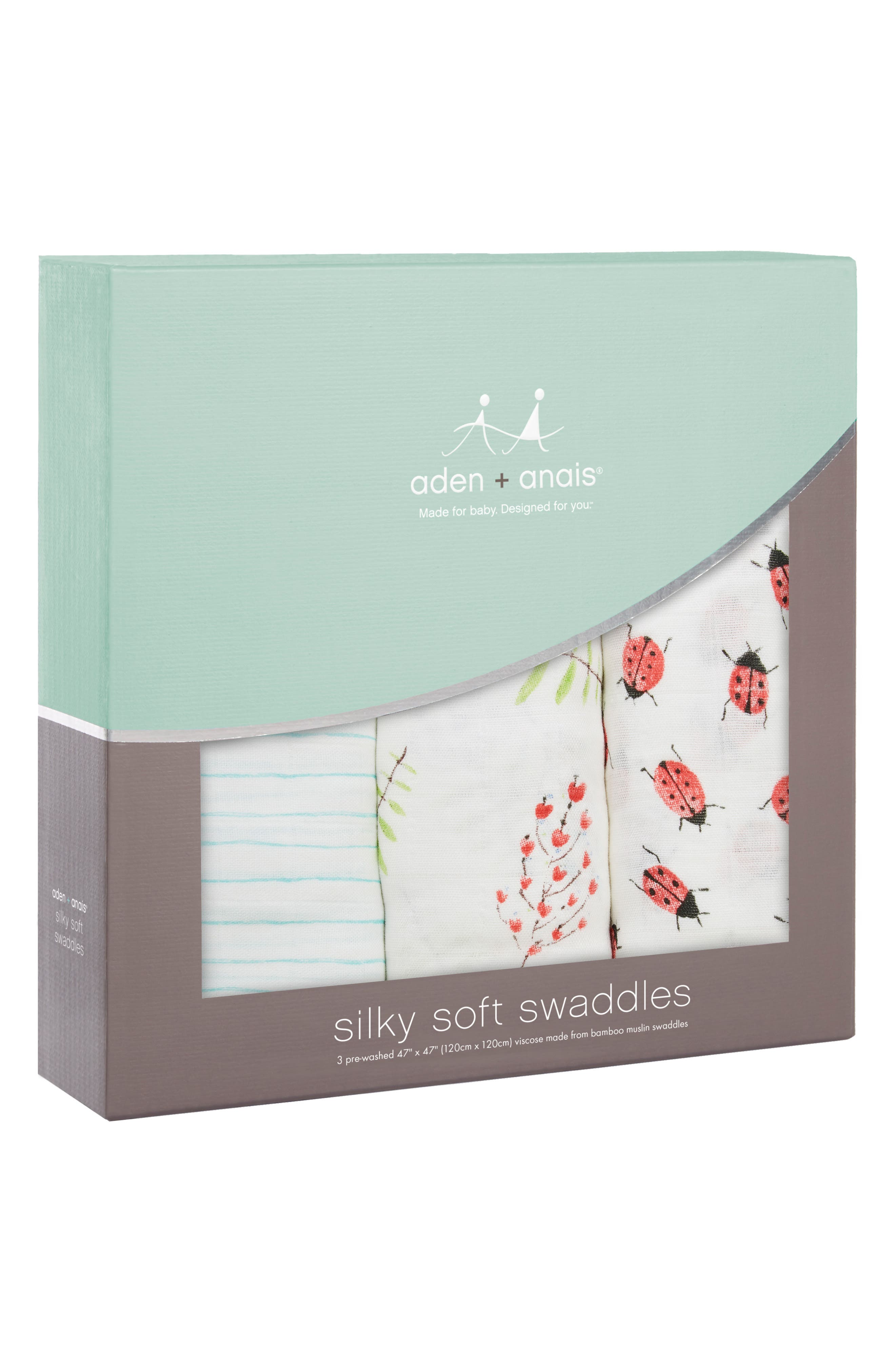 3-Pack Silky Soft Swaddling Cloths,                             Alternate thumbnail 3, color,                             100