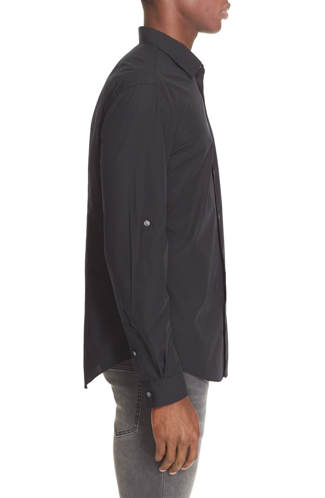 Slim Fit Sport Shirt,                             Alternate thumbnail 4, color,                             BLACK