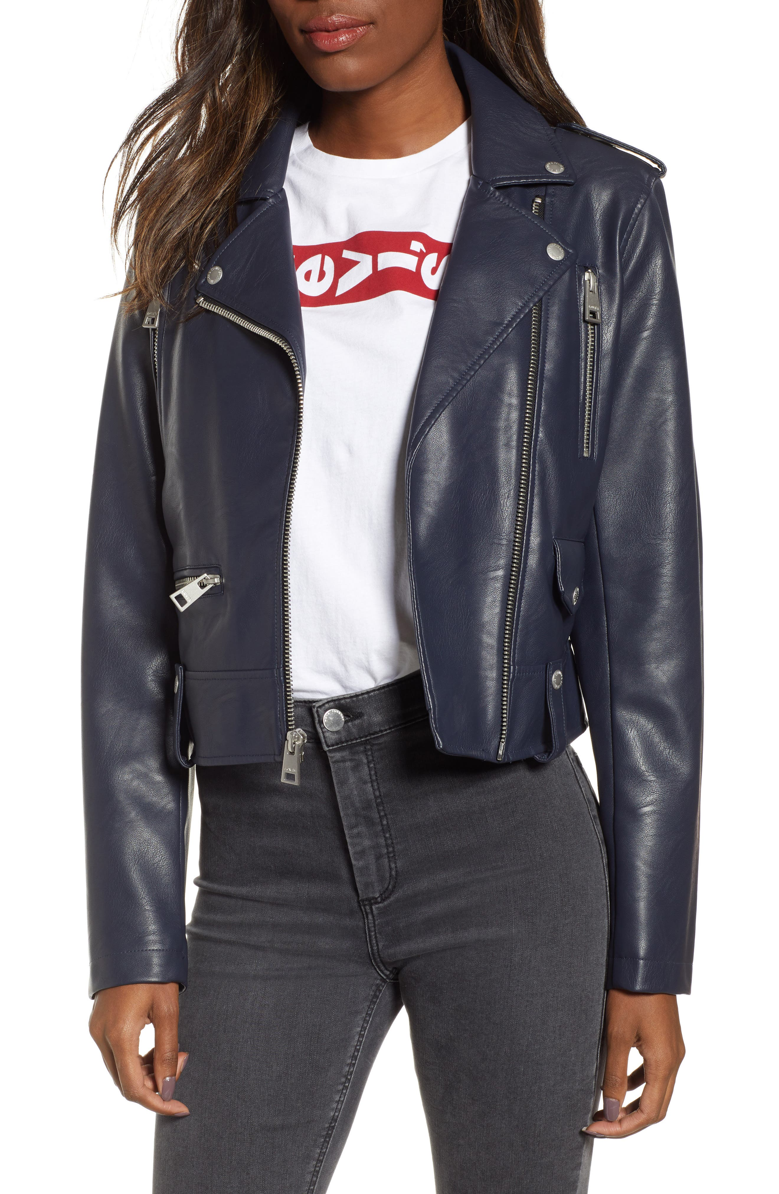 Faux Leather Moto Jacket, Main, color, NAVY
