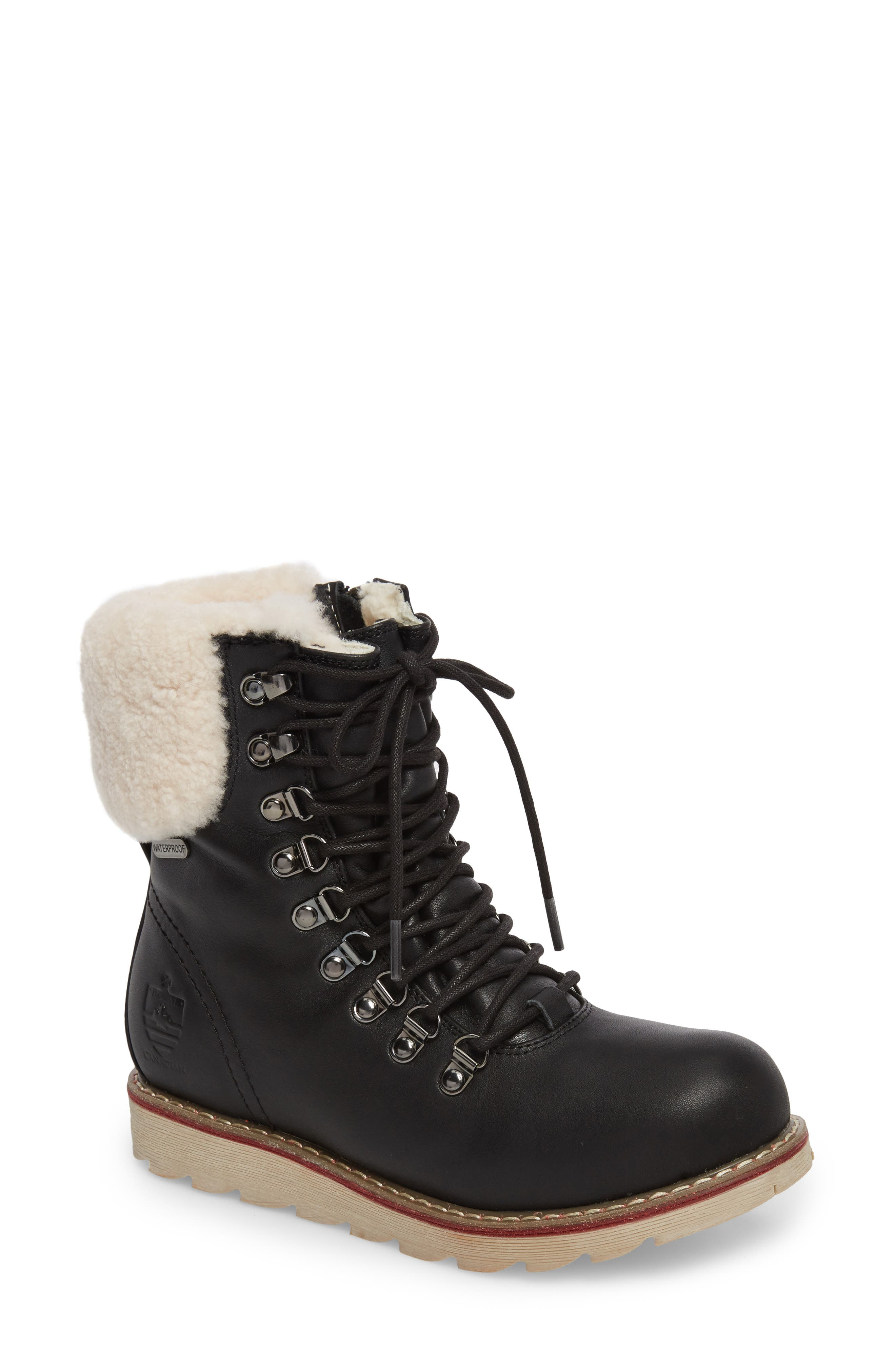 Lethbridge Waterproof Snow Boot with Genuine Shearling Cuff,                             Main thumbnail 1, color,                             BLACK LEATHER