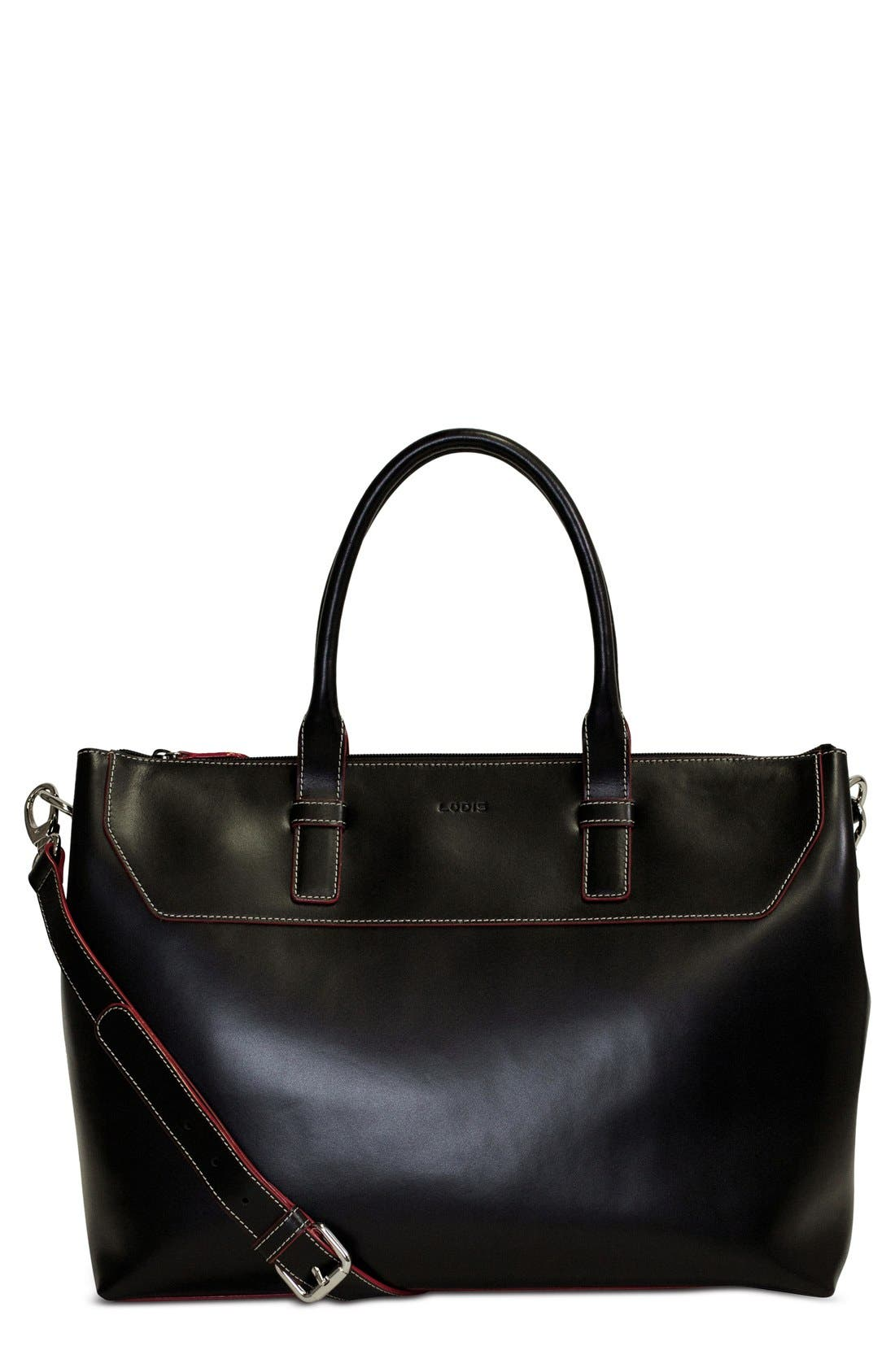 Lodis Audrey Wilhelmina Leather Work Satchel,                             Main thumbnail 1, color,                             001