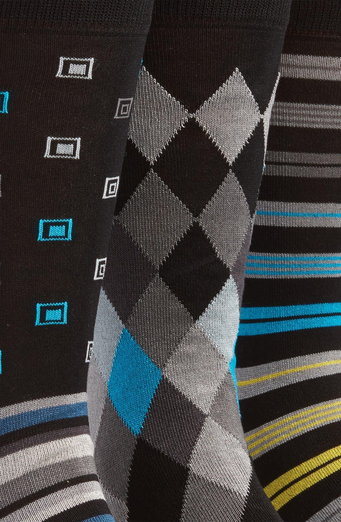 3-Pack Assorted Mercerized Cotton Blend Sock Gift Set,                             Alternate thumbnail 3, color,