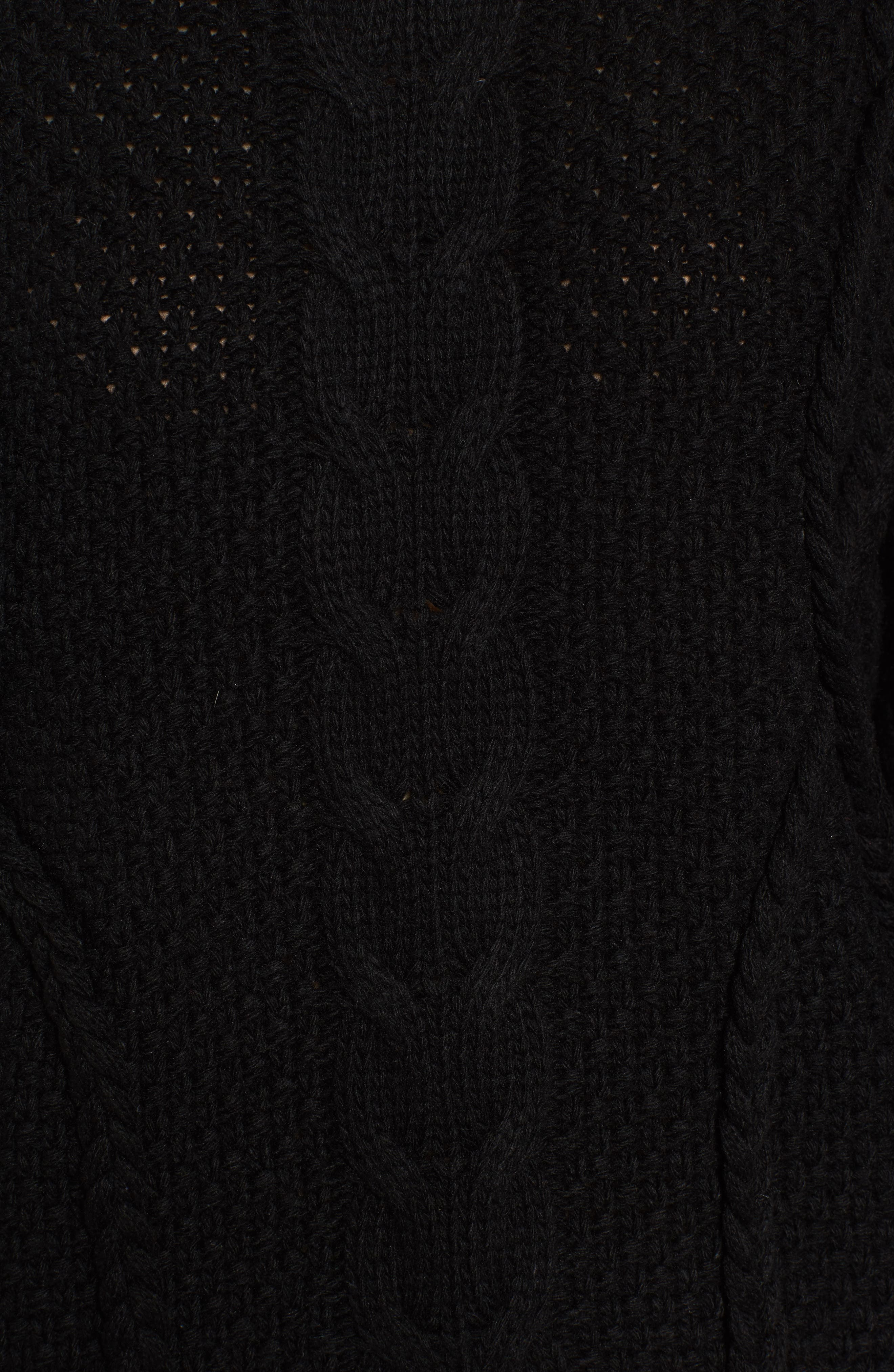 Plaited Cable Knit Sweater,                             Alternate thumbnail 5, color,                             001