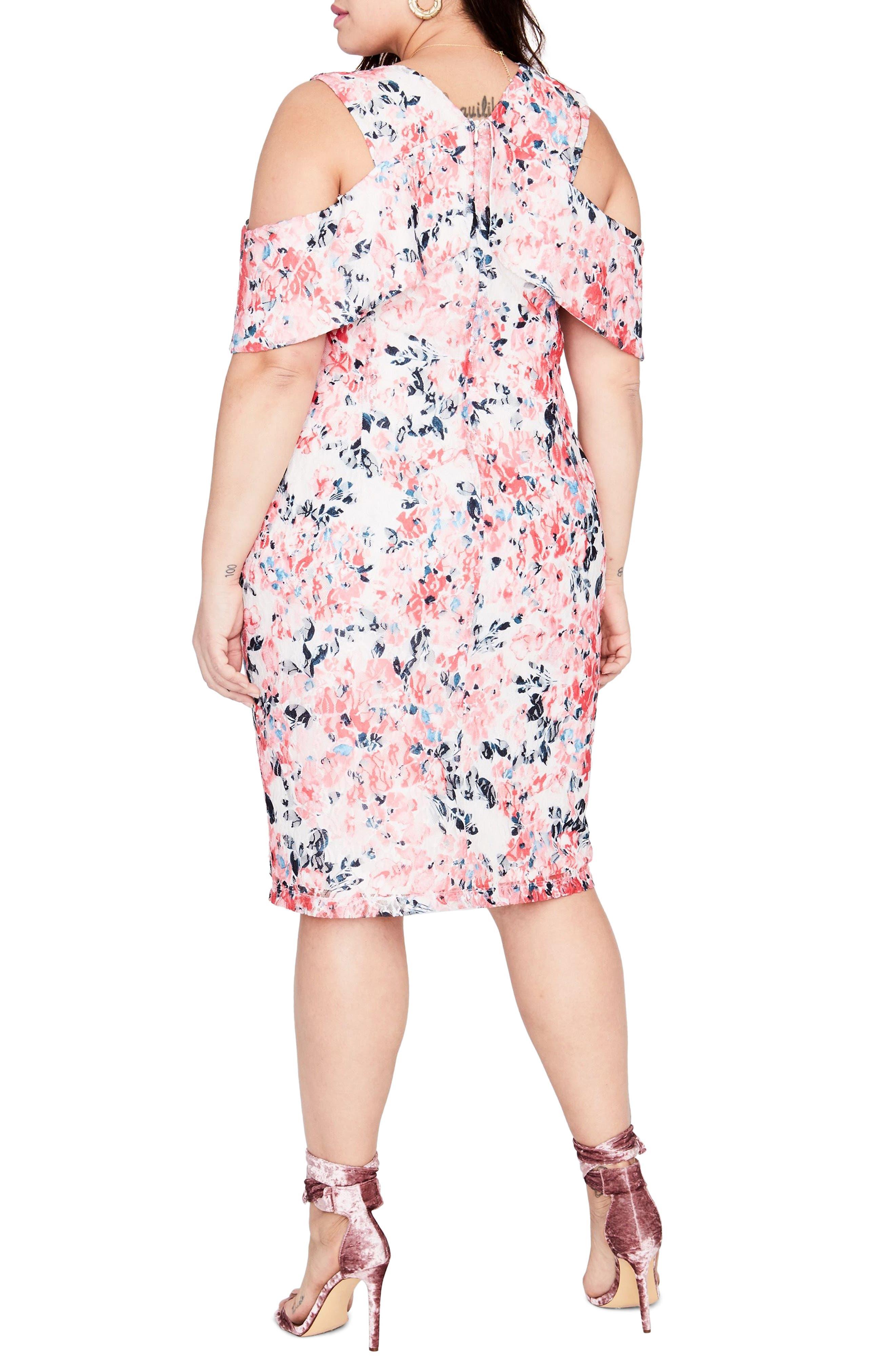 Print Off the Shoulder Lace Dress,                             Alternate thumbnail 2, color,                             691