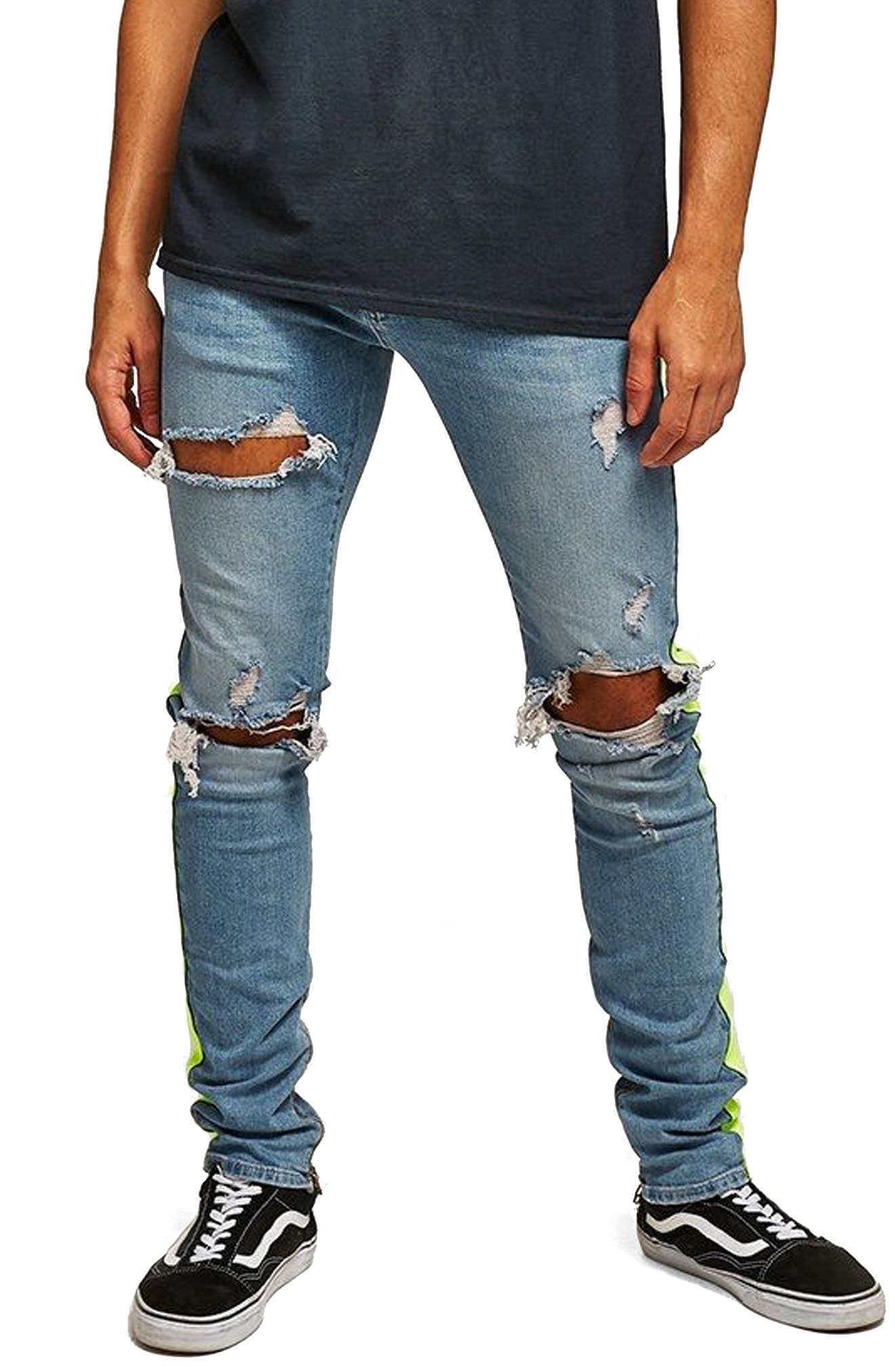 Side Tape Stretch Skinny Fit Jeans,                             Main thumbnail 1, color,                             BLUE MULTI
