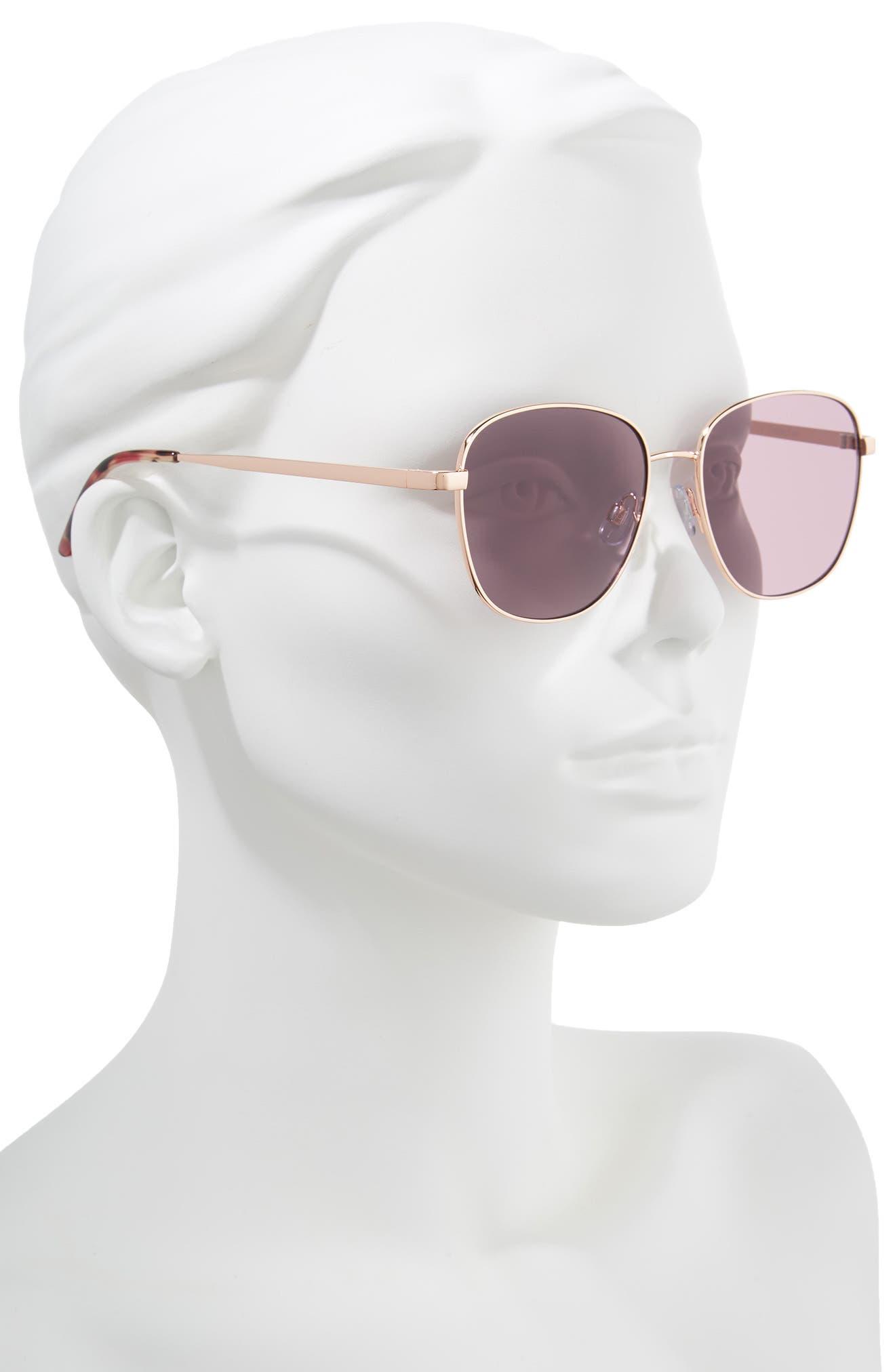 53mm Square Sunglasses,                             Alternate thumbnail 2, color,                             ROSE GOLD/ PURPLE