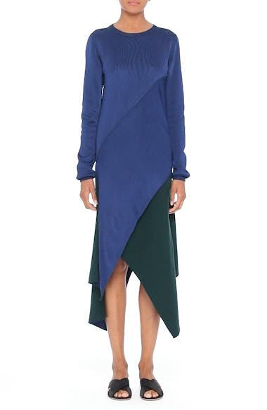 Reversible Asymmetrical Knit Midi Skirt, video thumbnail