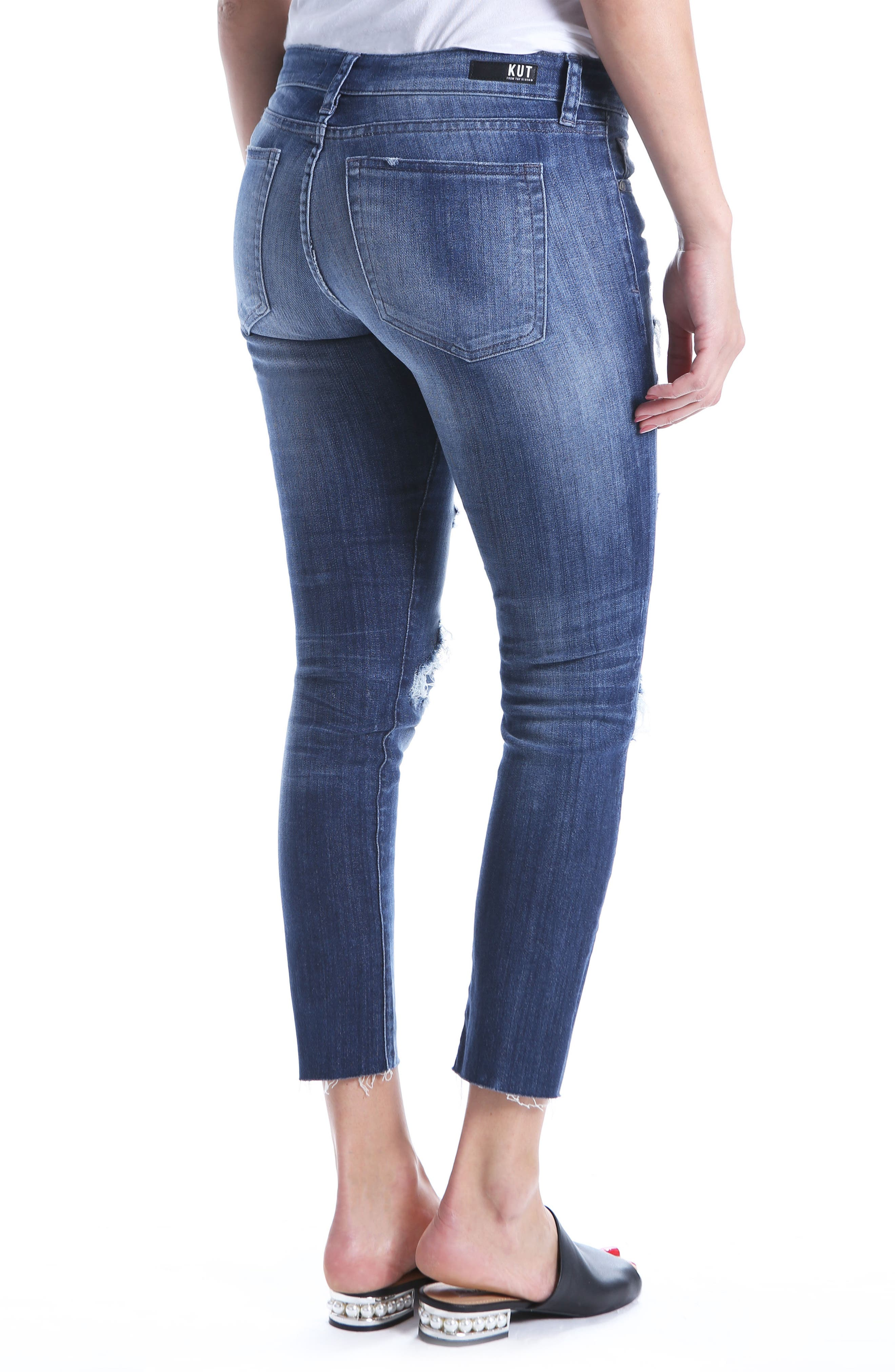 Reese Distressed Ripped Raw Hem Jeans,                             Alternate thumbnail 2, color,                             400